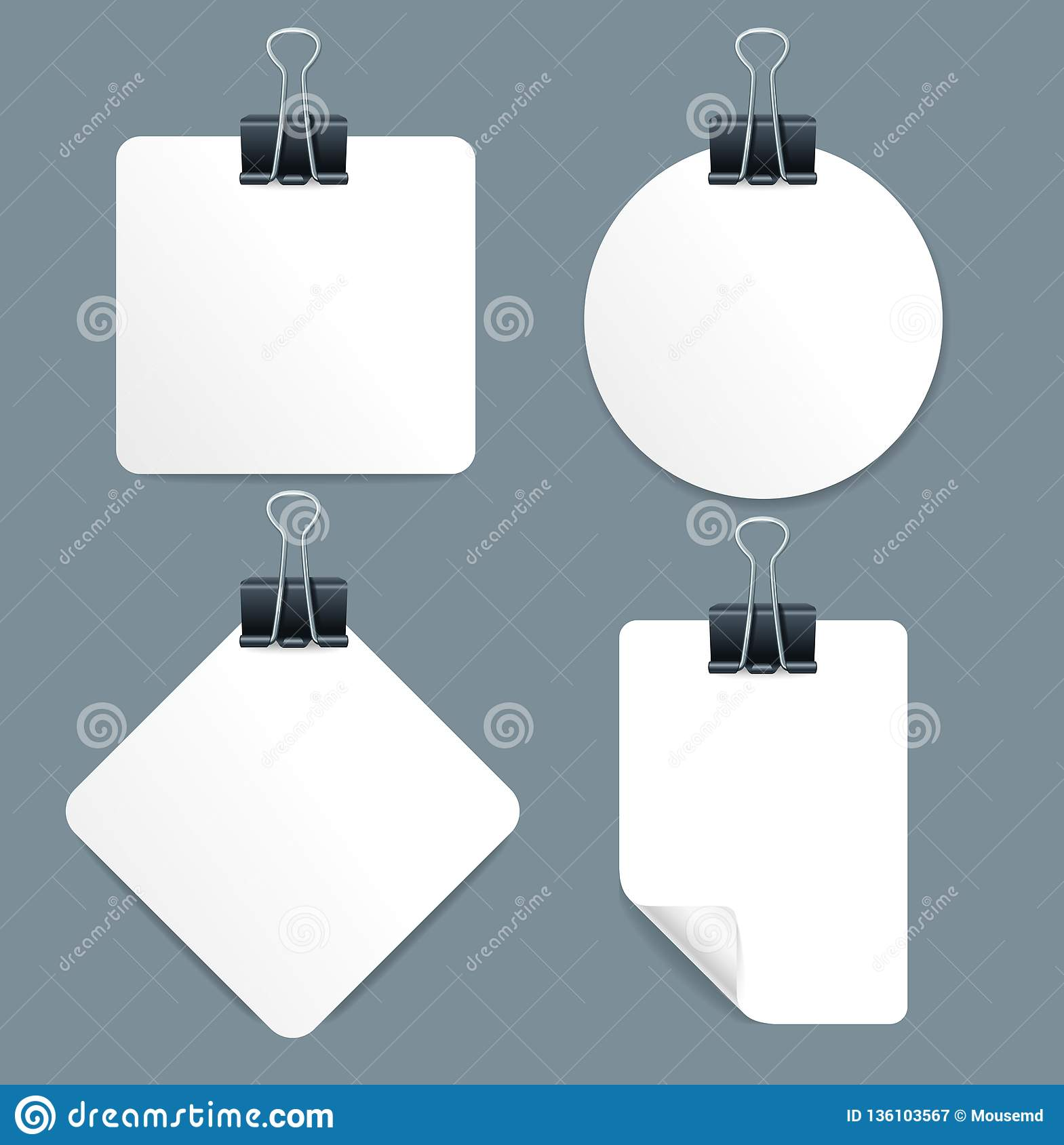 Realistic 3d Detailed Paper Sheets and Metal Pin Binder Set. Vector