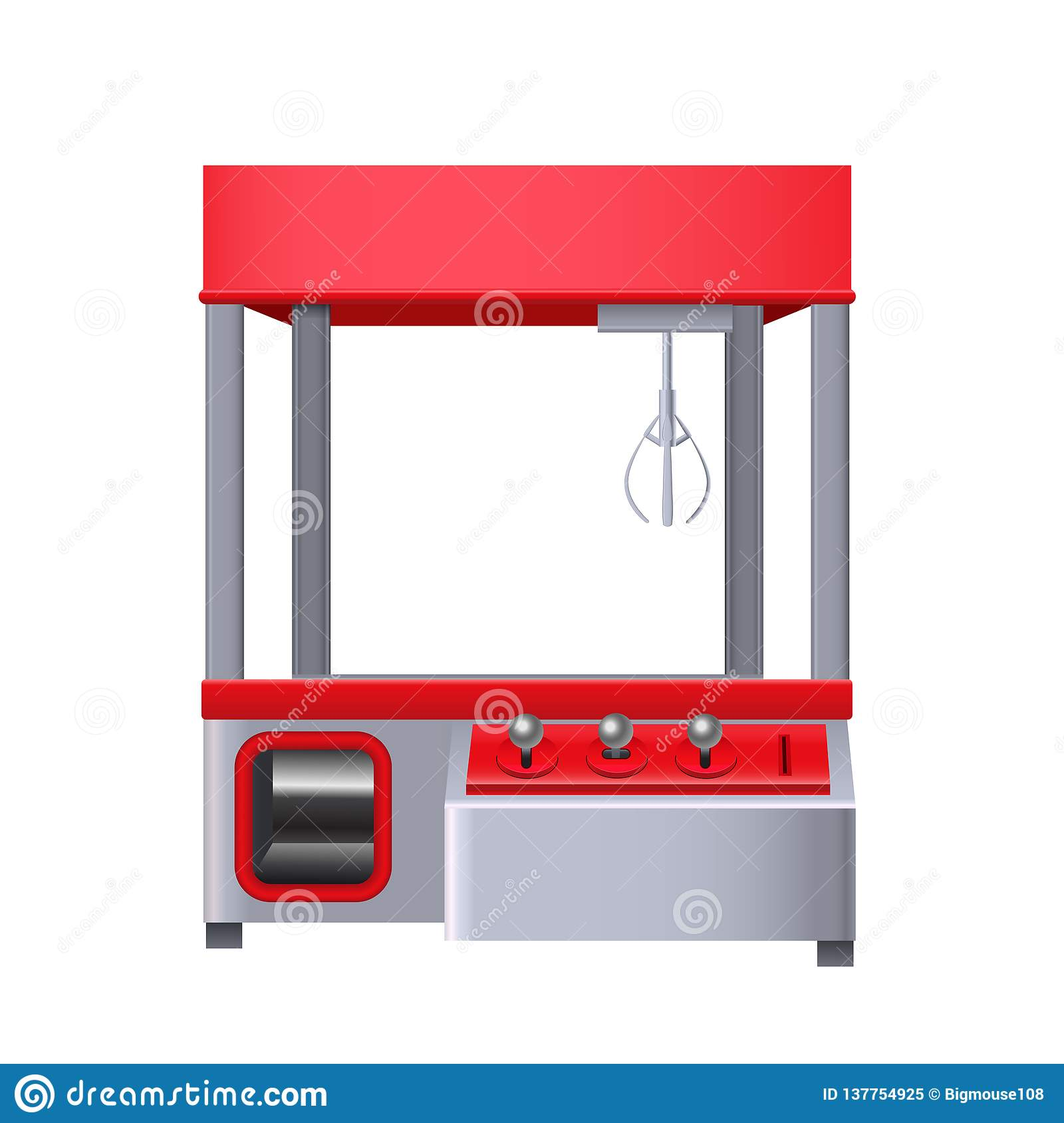 Realistic 3d Detailed Toy Claw Crane  Vector Stock Vector