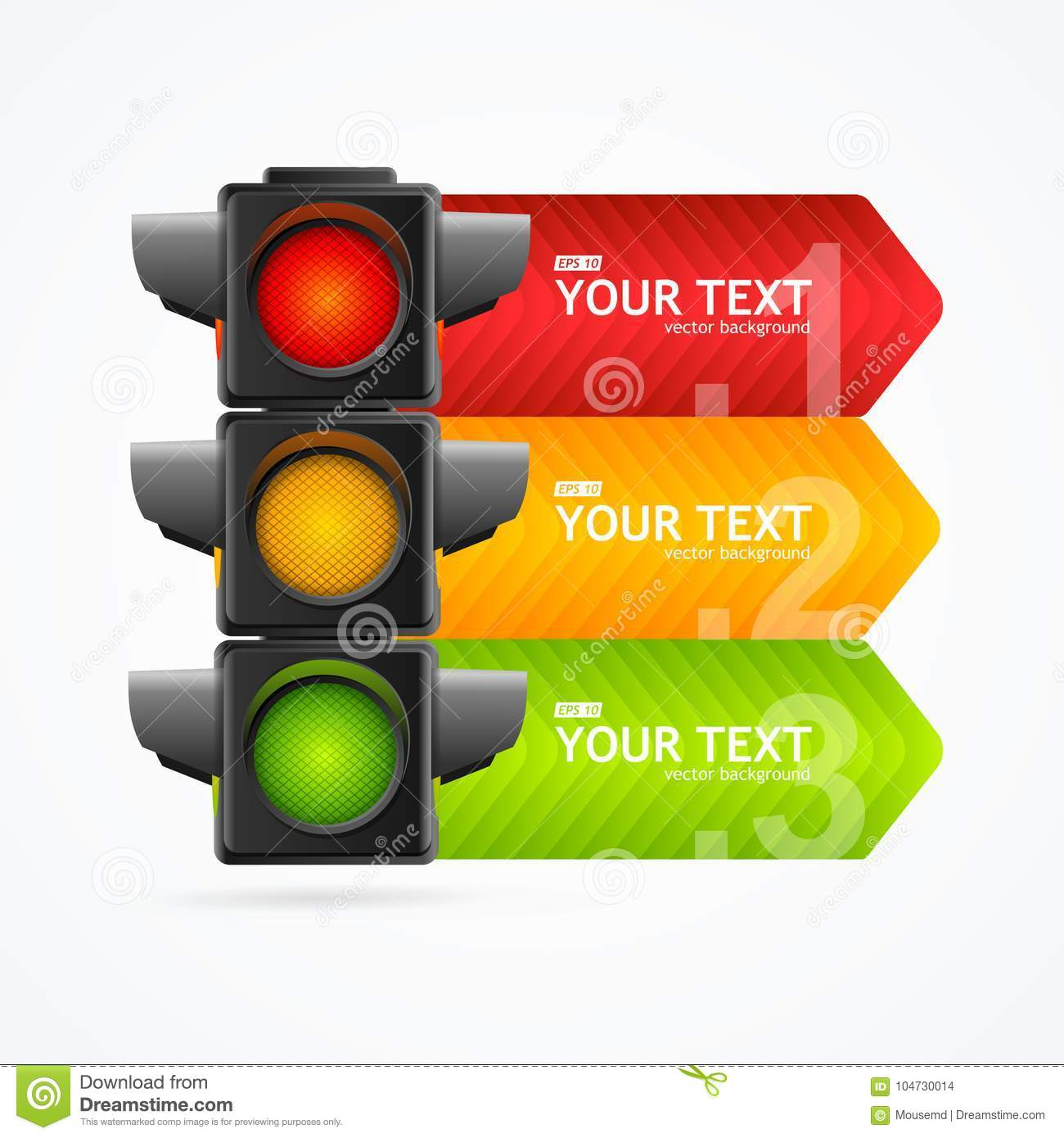 Realistic 3d Detailed Road Traffic Light Banner Card Vector Stock