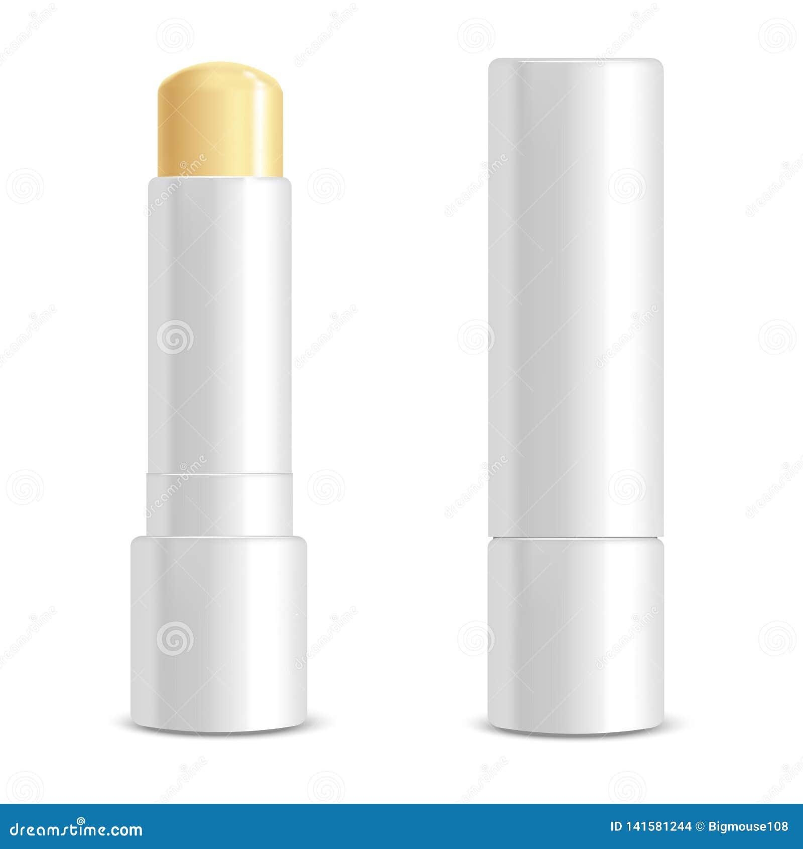 Realistic 3d Detailed White Blank Lip Balm Stick Template Mockup Set