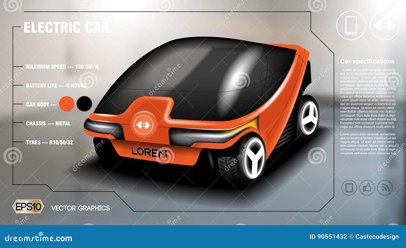 realistic 3d electric car info graphic concept. digital vector