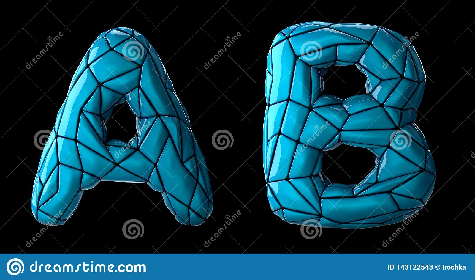 Realistic 3D letters set A, B made of low poly style. Collection symbols of low poly style blue color plastic isolated