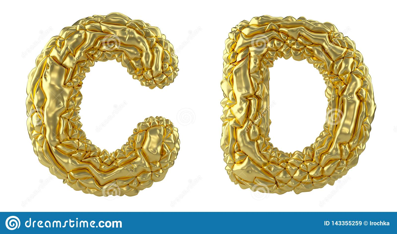 Realistic 3D letters set C, D made of crumpled foil. Collection symbols of crumpled gold foil isolated on white