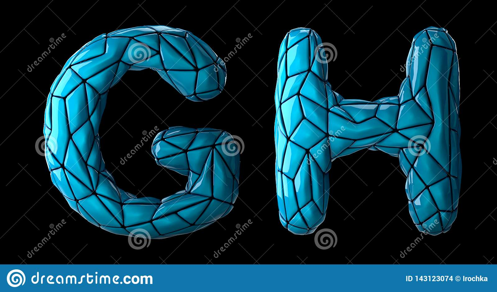 Realistic 3D letters set G, H made of low poly style. Collection symbols of low poly style blue color plastic isolated