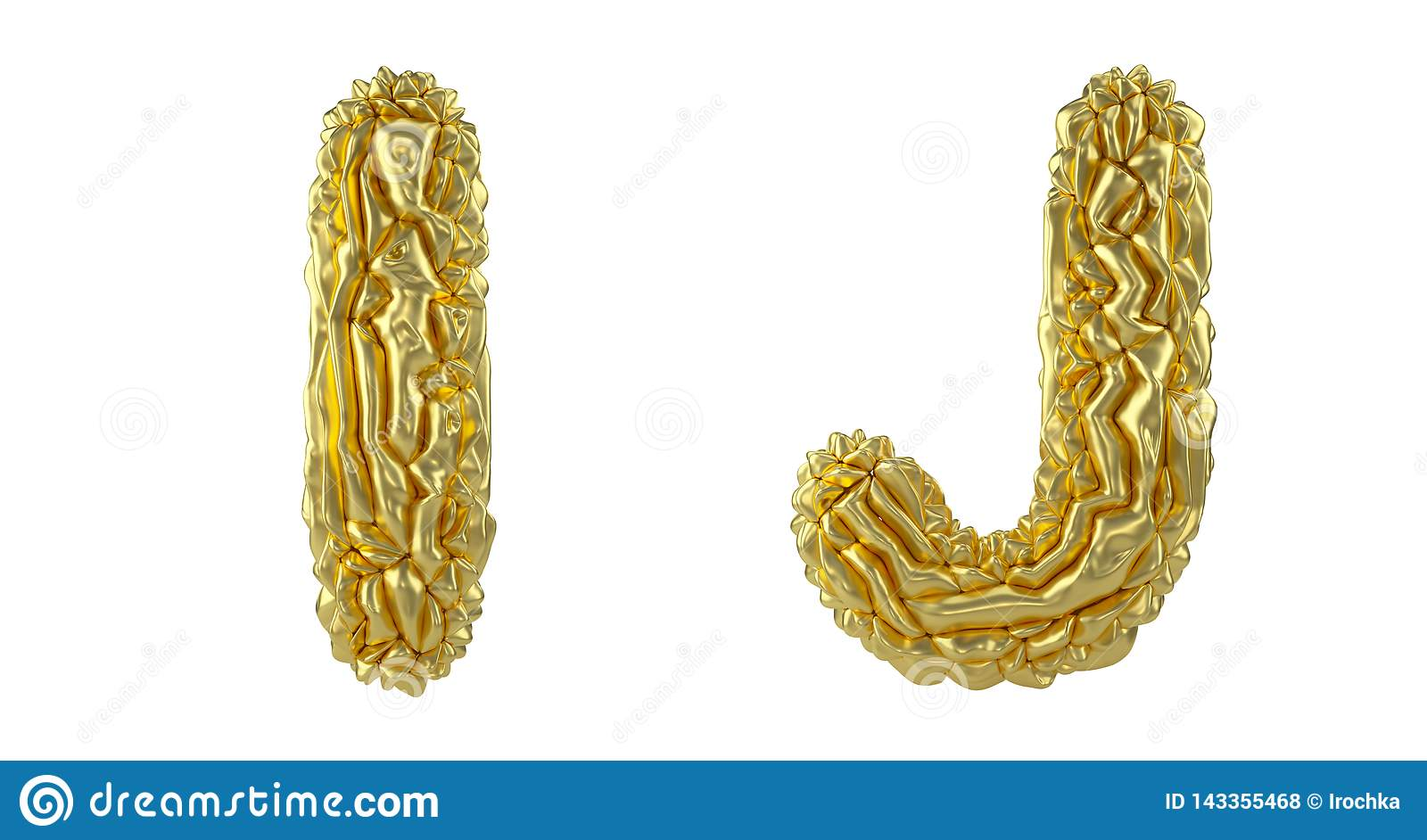 Realistic 3D letters set I, J made of crumpled foil. Collection symbols of crumpled gold foil isolated on white
