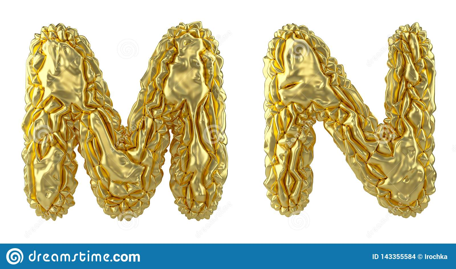Realistic 3D letters set M, N made of crumpled foil. Collection symbols of crumpled gold foil isolated on white