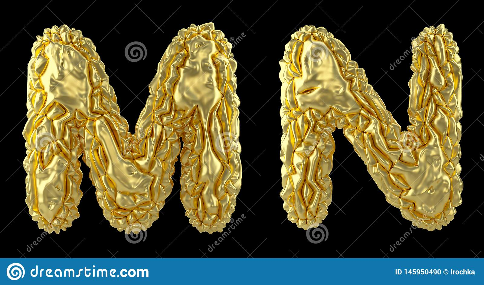 Realistic 3D letters set M, N made of crumpled foil. Collection symbols of crumpled gold foil isolated on black