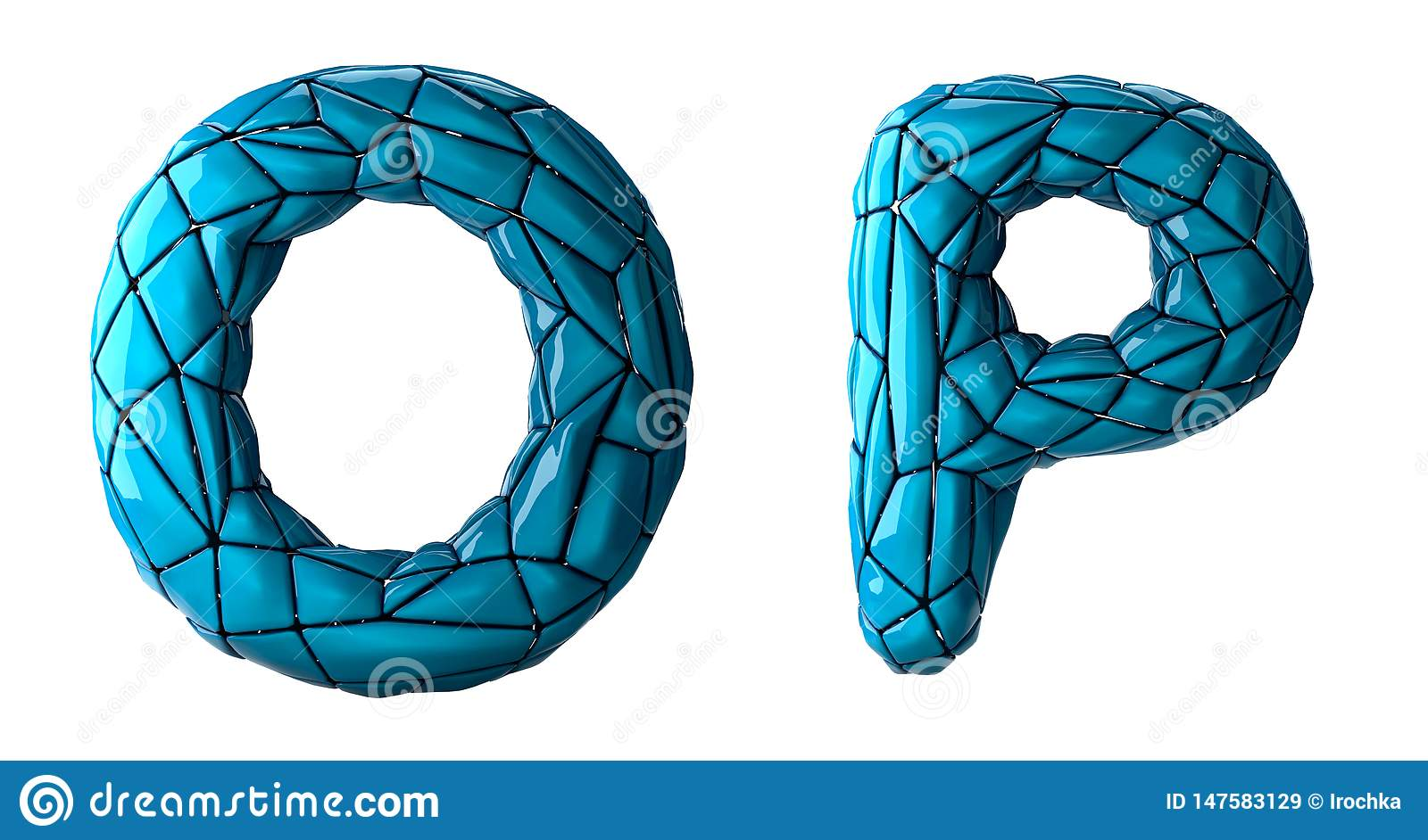 Realistic 3D letters set O, P made of low poly style. Collection symbols of low poly style blue color plastic isolated