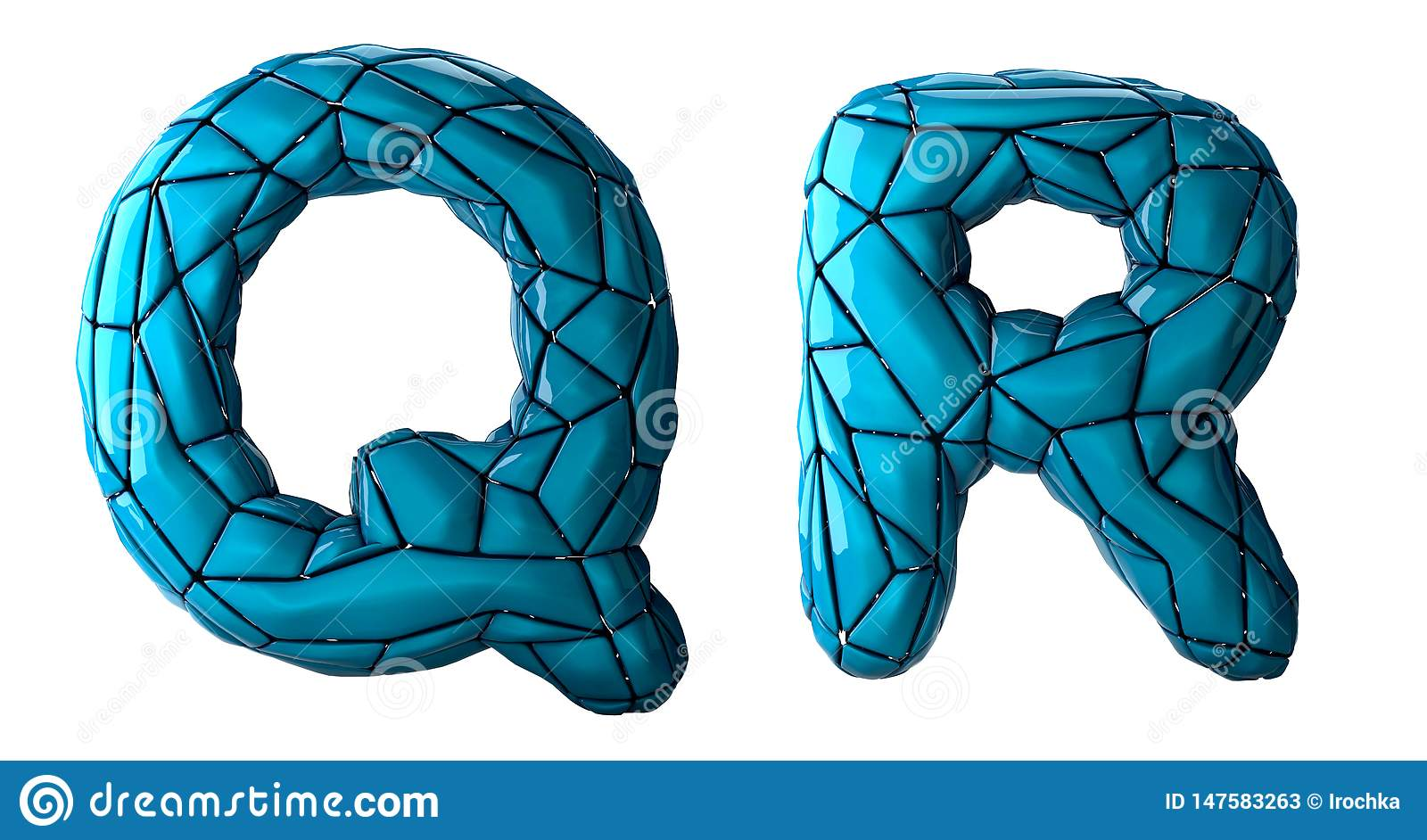 Realistic 3D letters set Q, R made of low poly style. Collection symbols of low poly style blue color plastic isolated