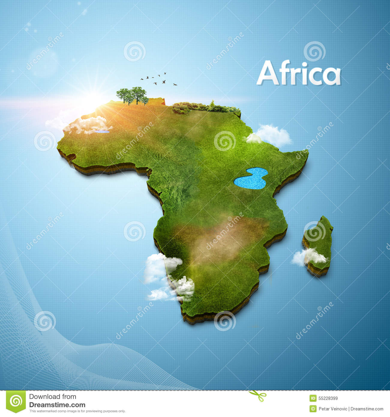 Realistic 3D Map of Africa stock illustration. Illustration of