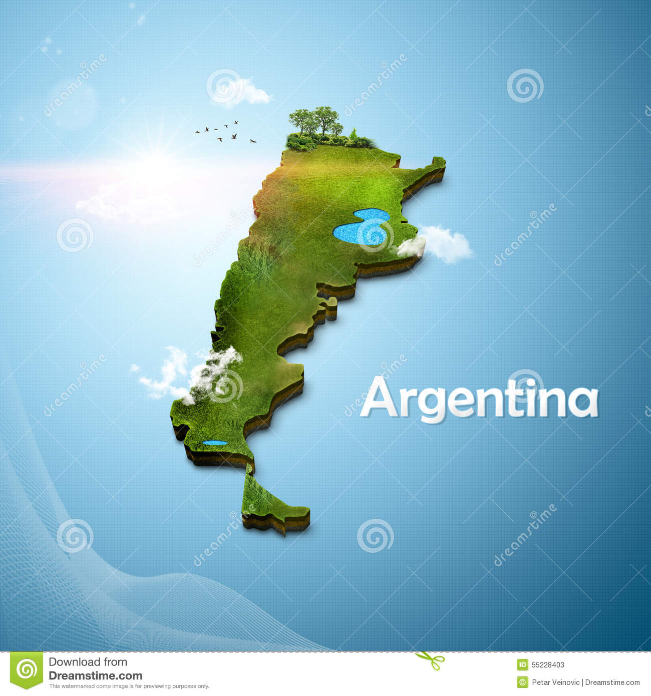 Realistic D Map Of Argentina Stock Illustration Image - Argentina 3d map