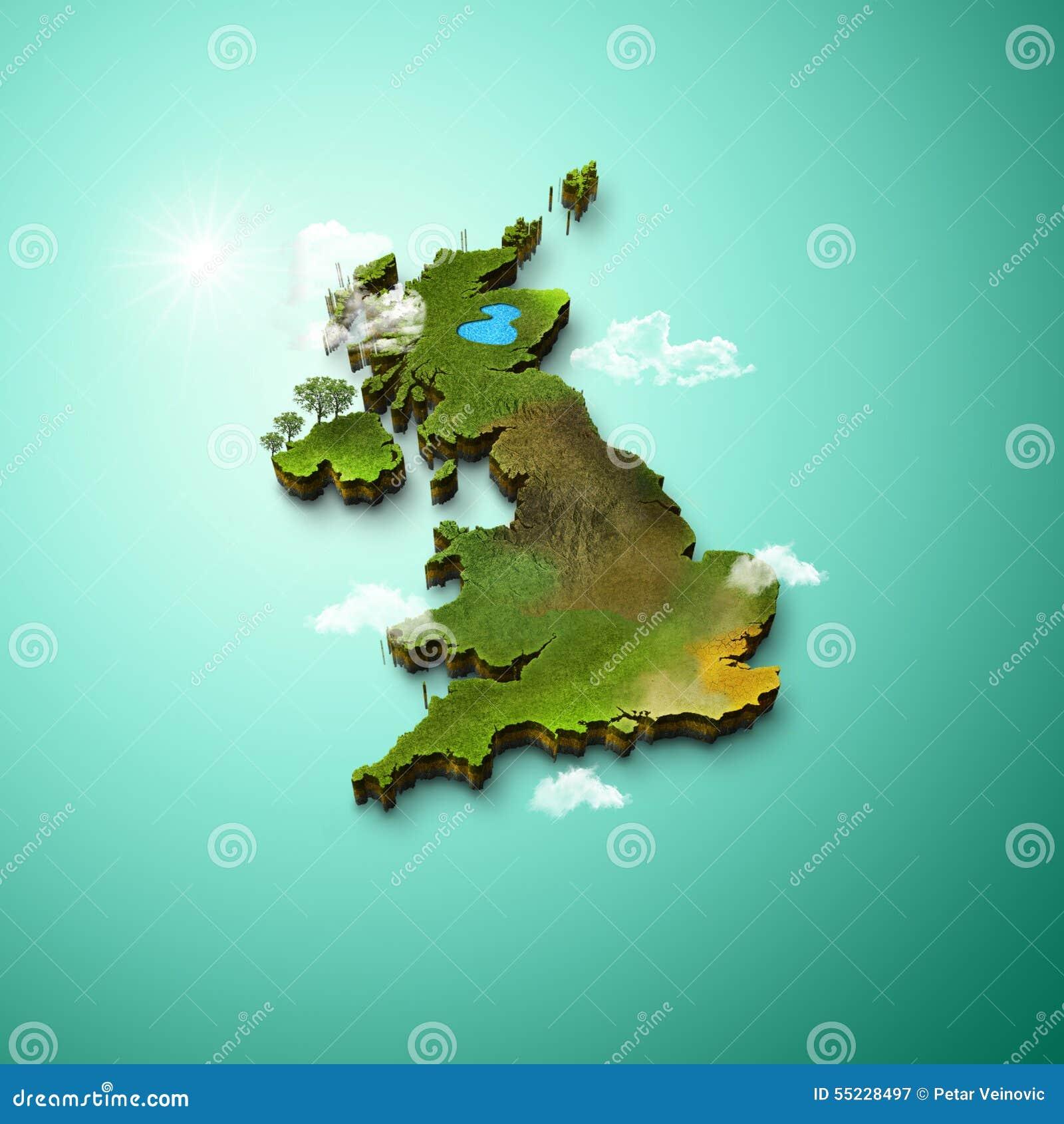 3d Terrain Map Of Uk.Realistic 3d Map Of United Kingdom Stock Illustration Illustration