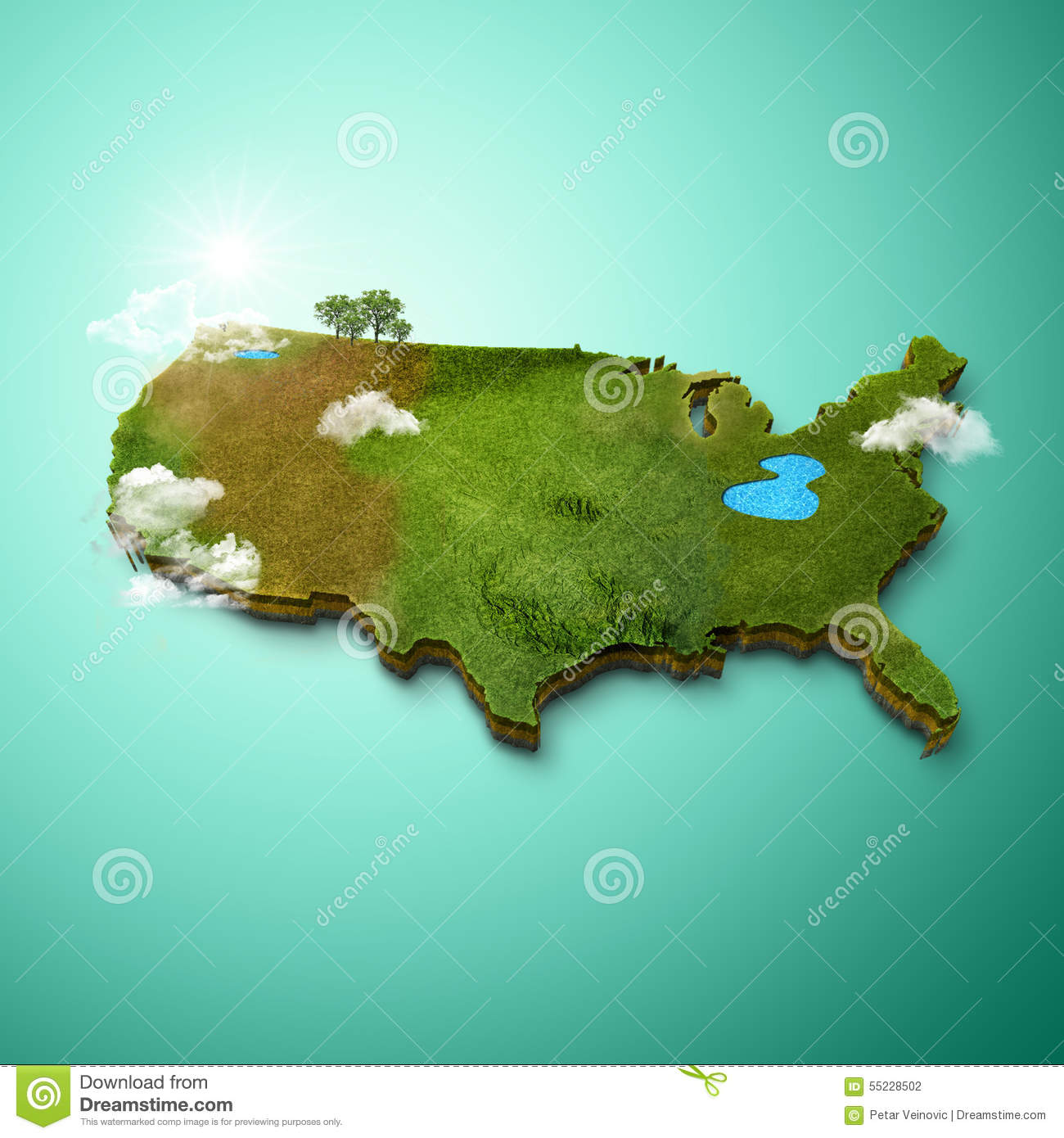 Realistic D Map Of United States Of America Stock Illustration - Map of united states download