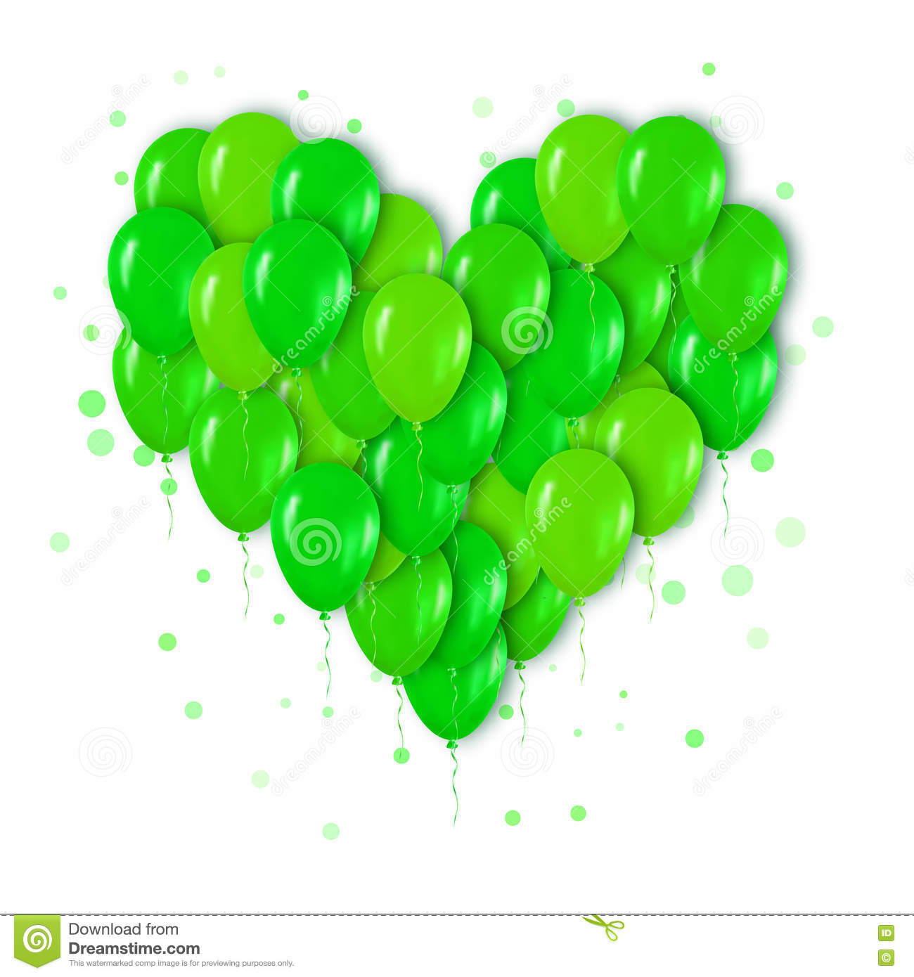 Realistic 3d Neon Green Bunch of Balloons Flying for Party