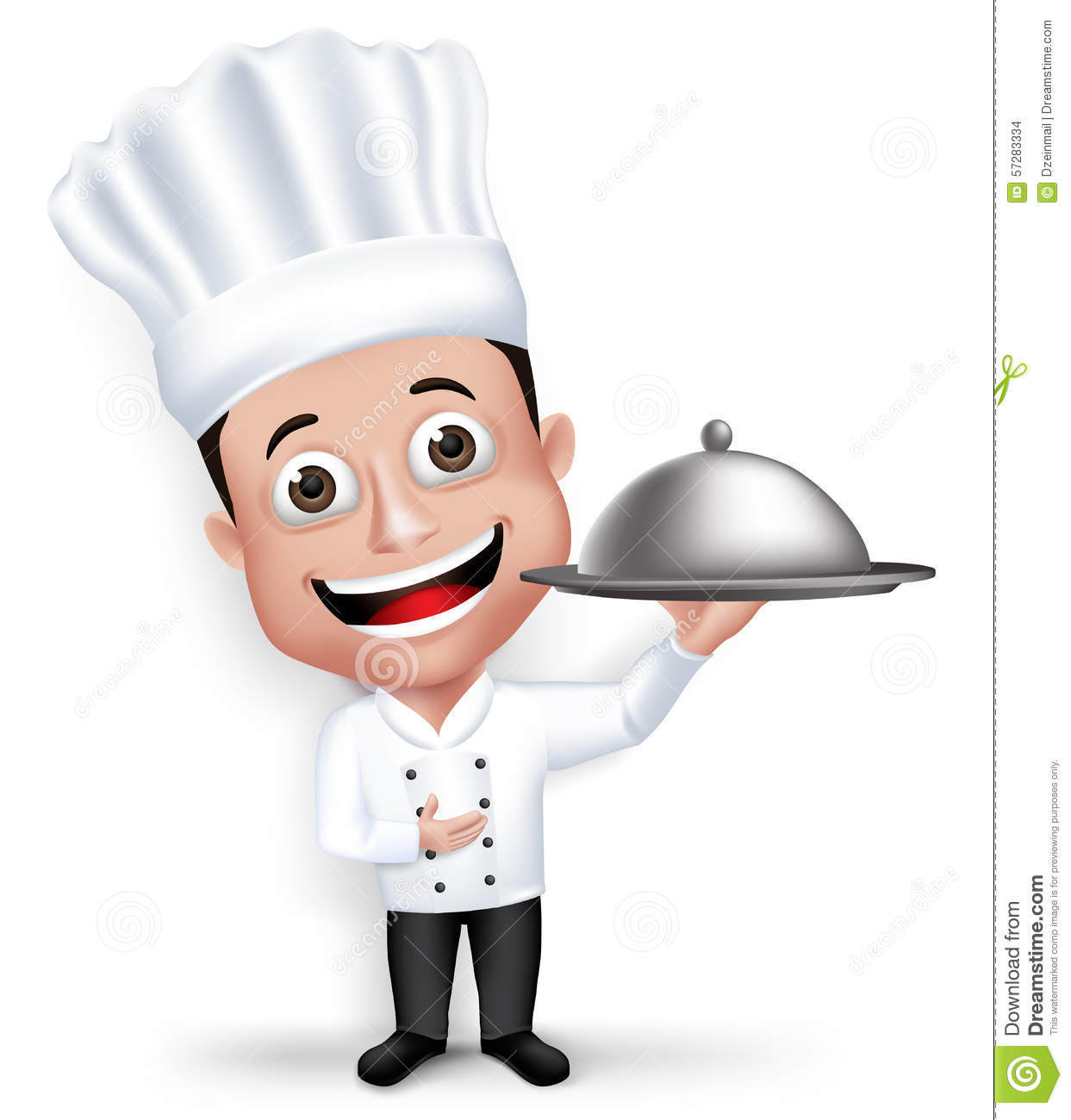 realistic 3d young friendly professional chef cook character stock