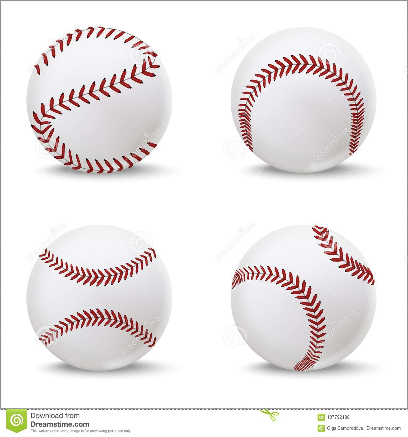 Realistic Detailed 3d Baseball Leather Ball Set. Vector