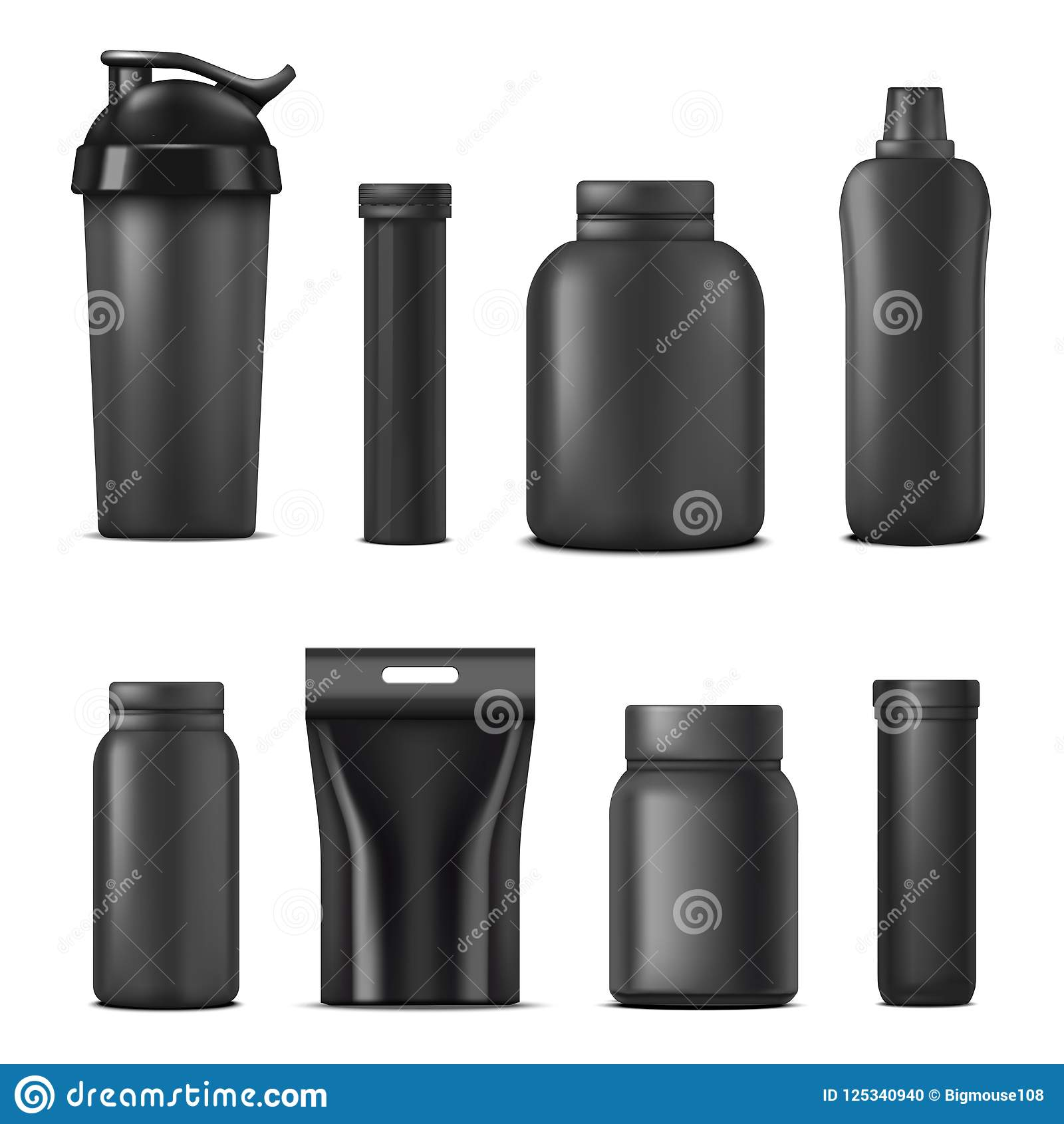 Realistic Detailed 3d Black Blank Sport Nutrition Containers Template Mockup Set. Vector