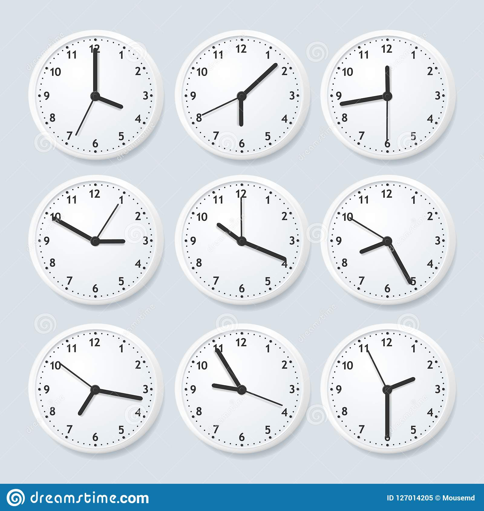 Realistic Detailed 3d Clock Set with Different Time. Vector