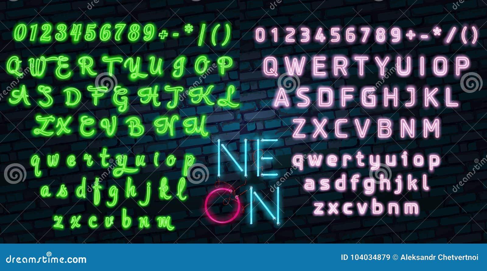 Realistic Detailed 3d Neon Lights Signs Set on a Blue Background Alphabet Font Design Element.