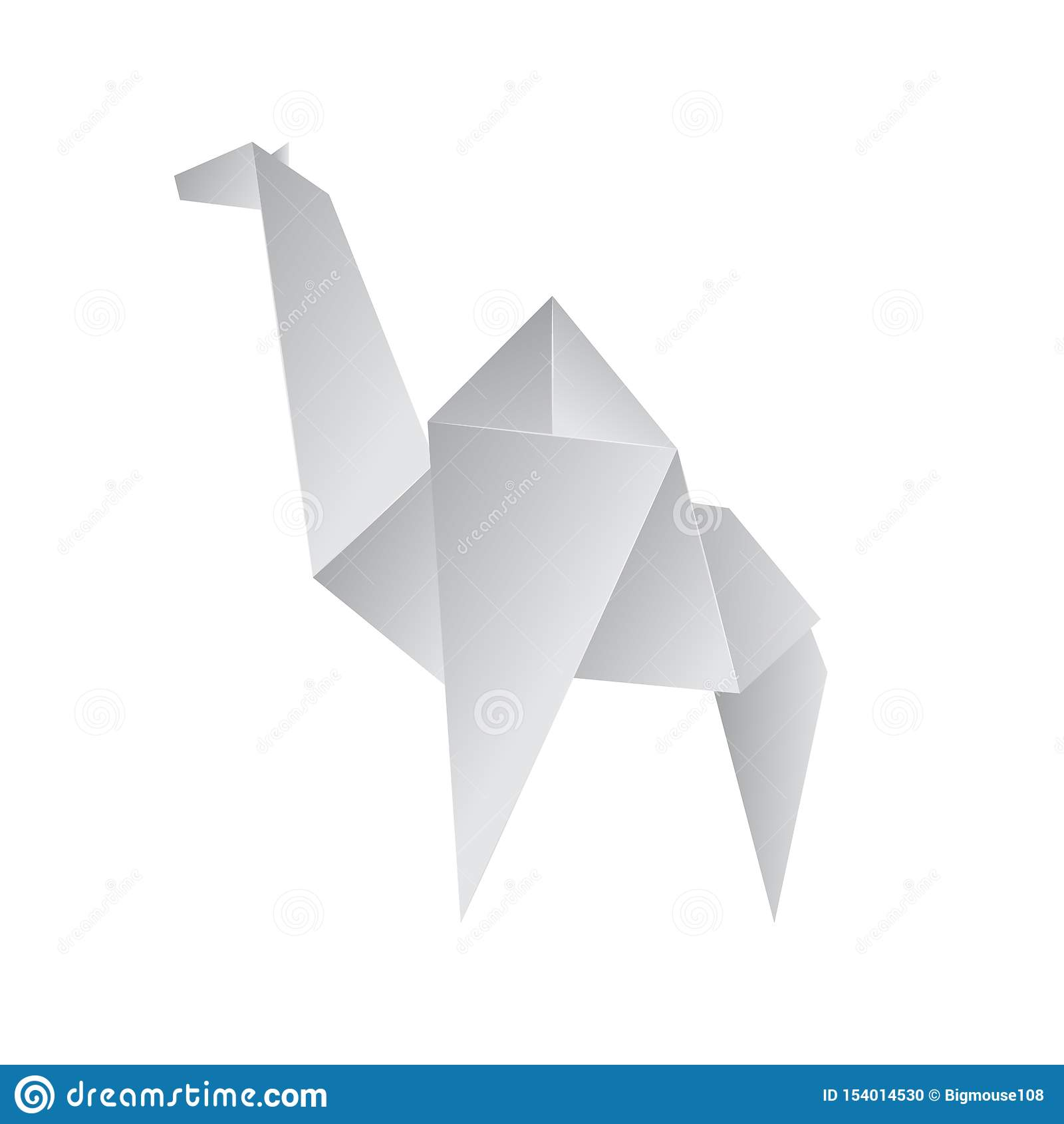 Realistic Detailed 3d Origami Paper Animal Camel. Vector