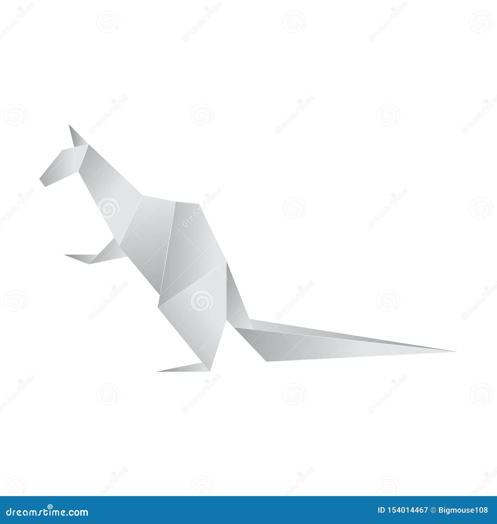 Realistic Detailed 3d Origami Paper Animal Kangaroo. Vector