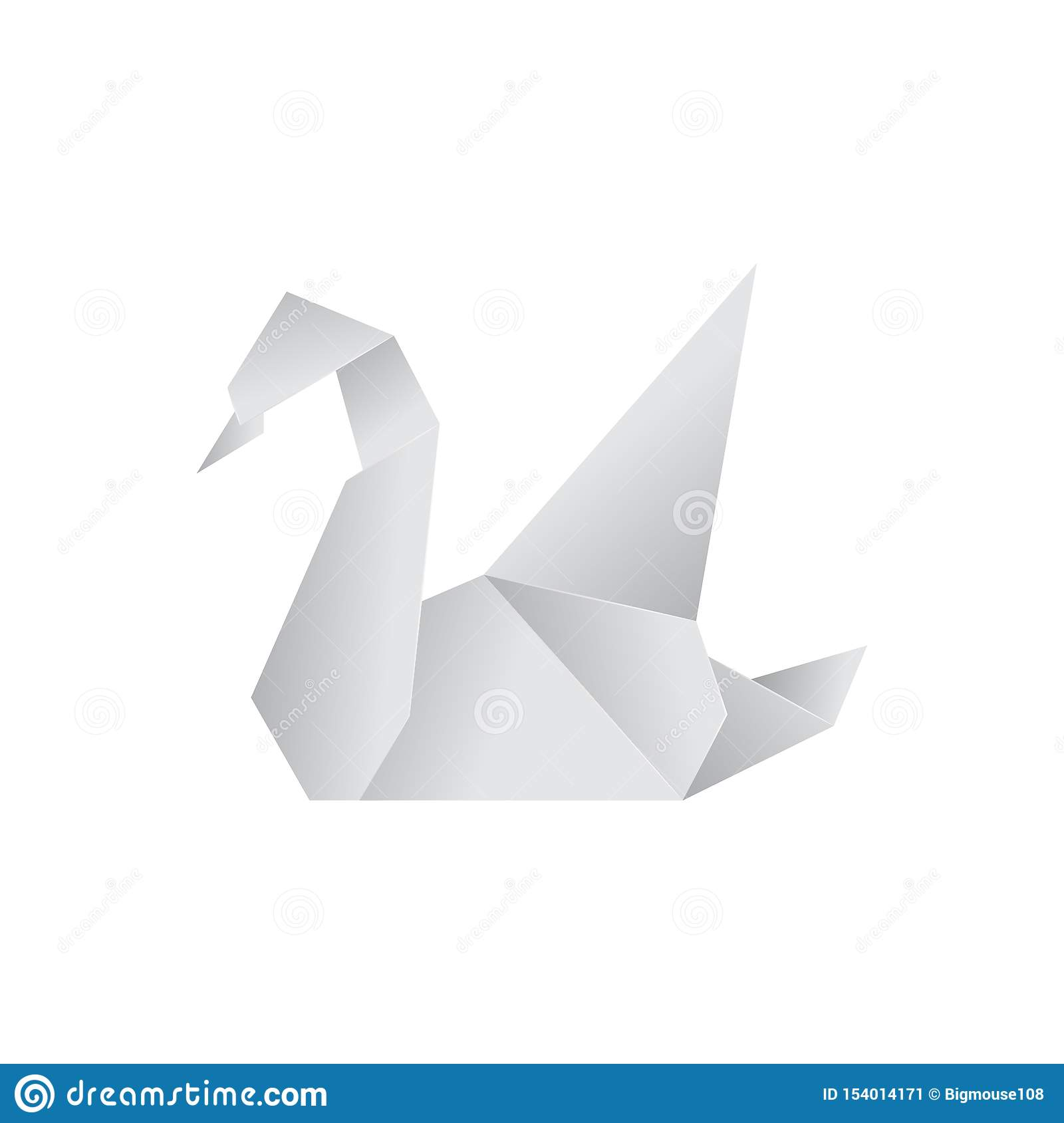 Realistic Detailed 3d Origami Paper Animal Swan. Vector