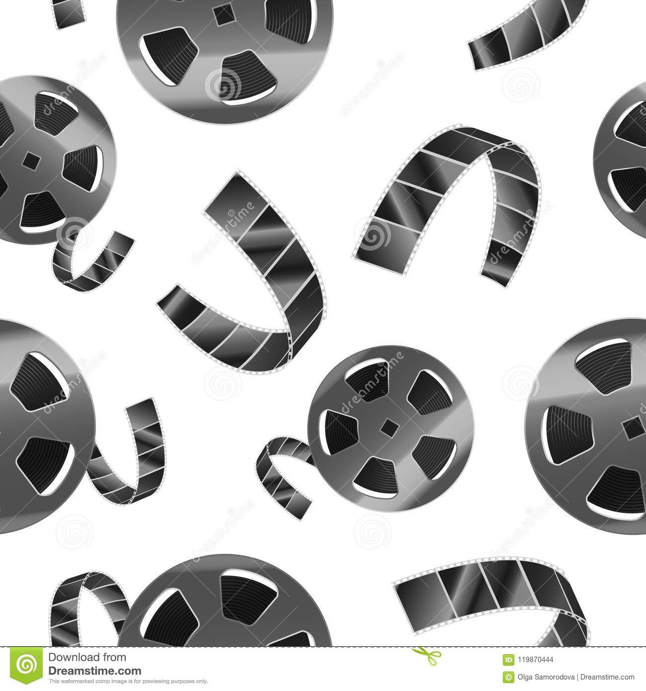 Realistic Detailed 3d Reel of Film Tape Seamless Pattern Background. Vector