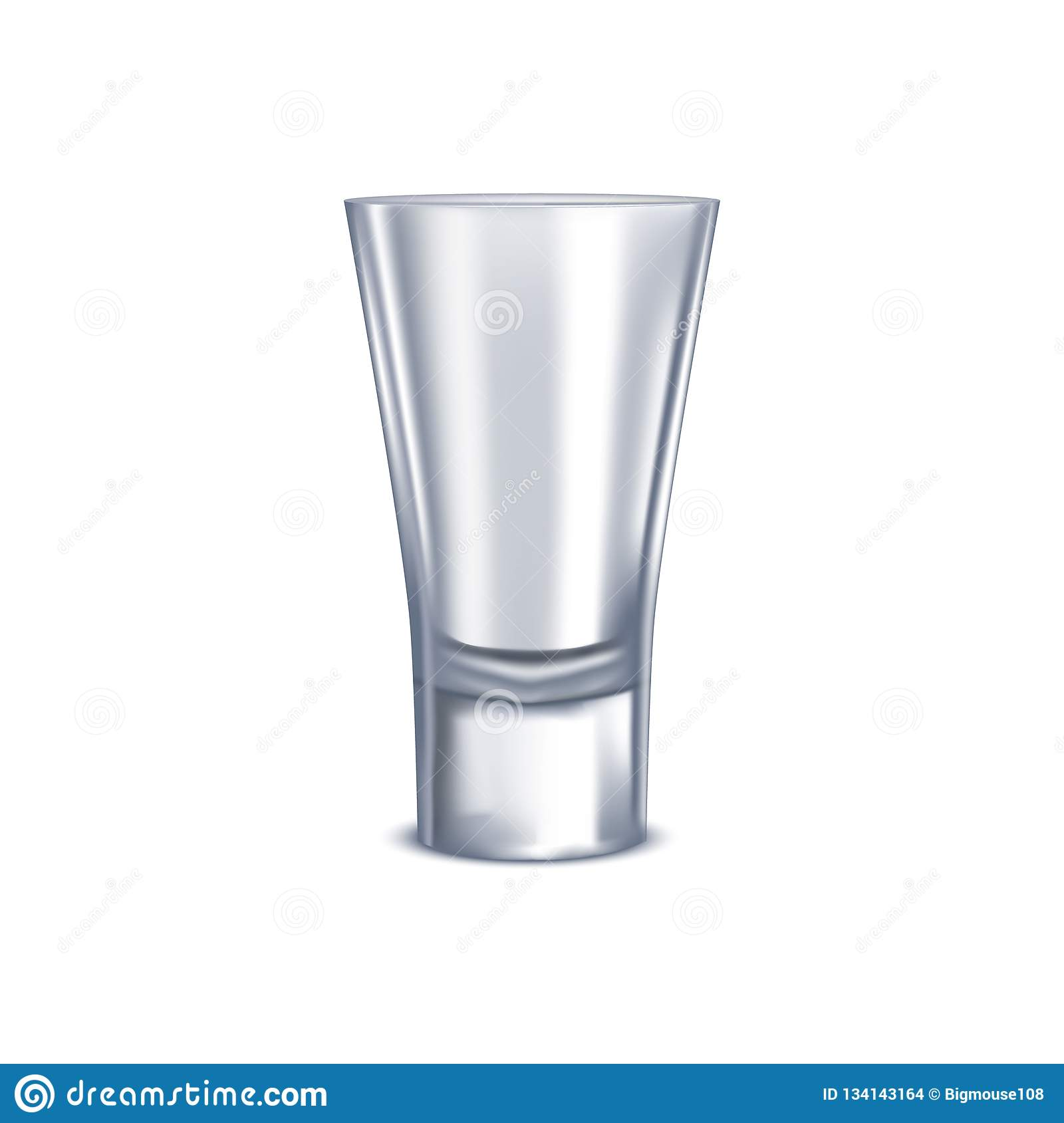 Realistic Detailed 3d Shot Glass Isolated on a White Background. Vector
