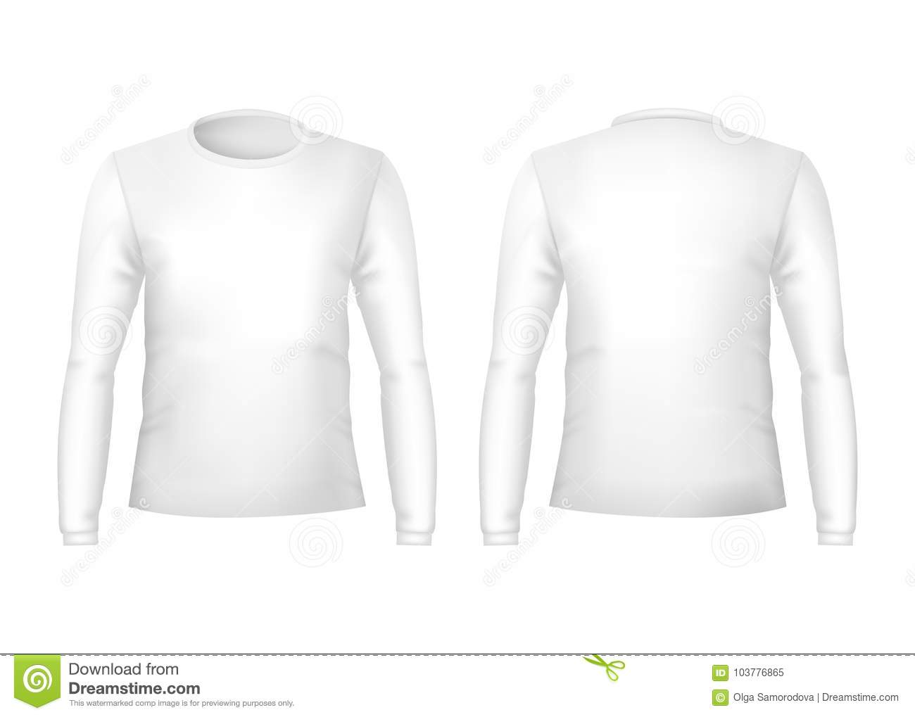 Realistic Detailed 3d Template Blank White T Shirts Front And Back
