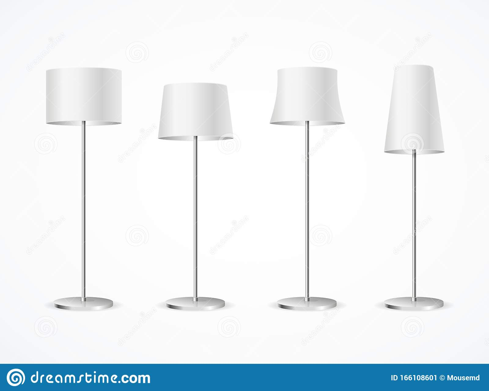 Picture of: Realistic Detailed 3d White Blank Floor Lamp Set Vector Stock Vector Illustration Of Empty Illuminated 166108601