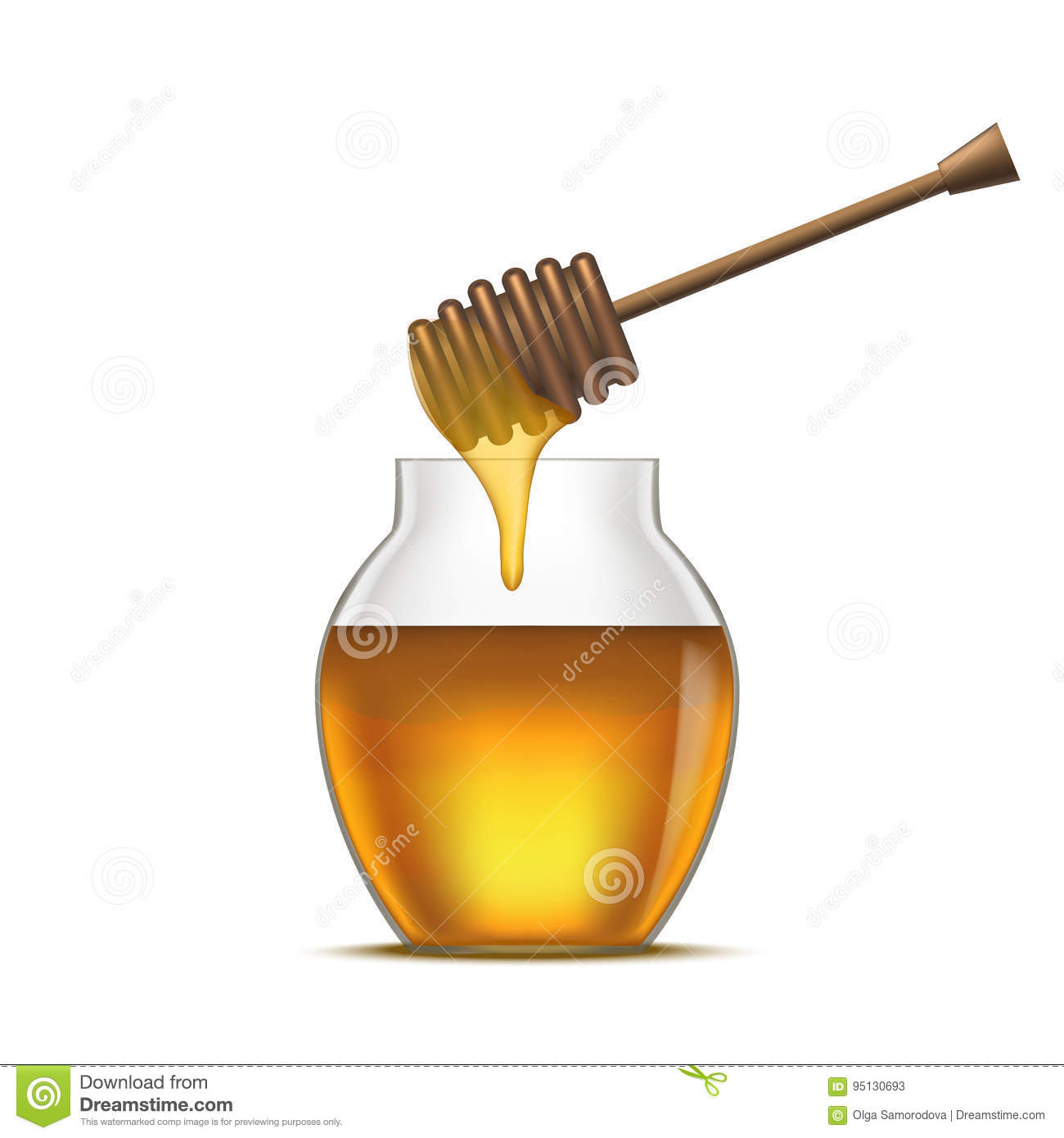 Realistic Detailed Dipper and Glass Jar Honey. Vector