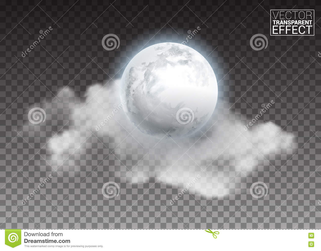 Realistic detailed full big moon with clouds isolated on transparent background.