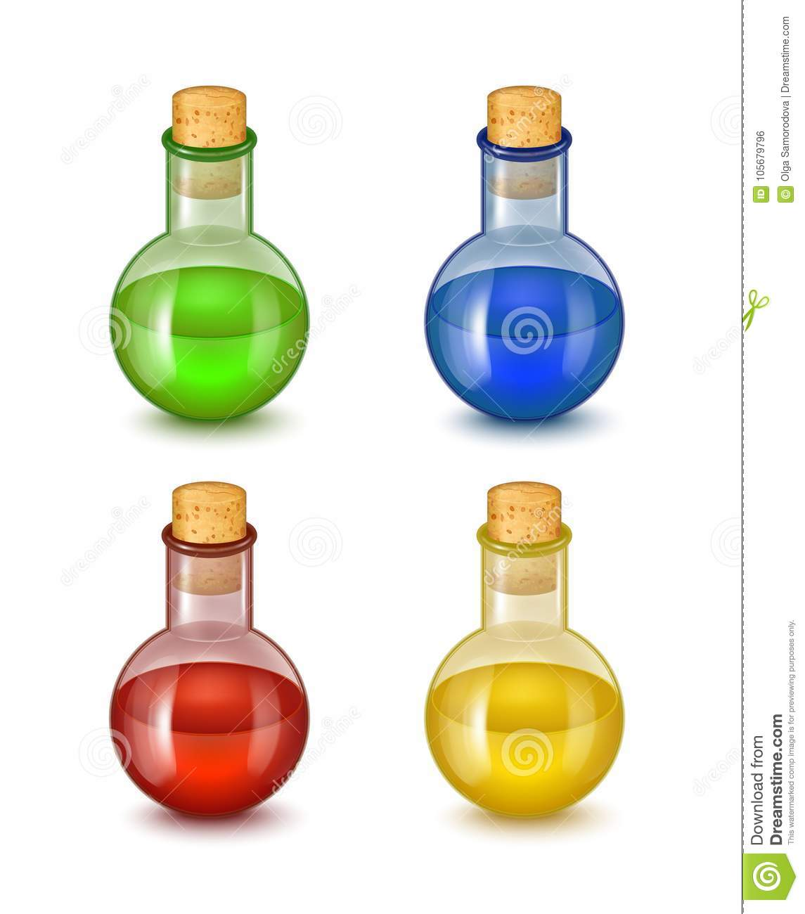 Realistic Detailed Glass Bottle Of Toxic Poison Vector Stock Vector