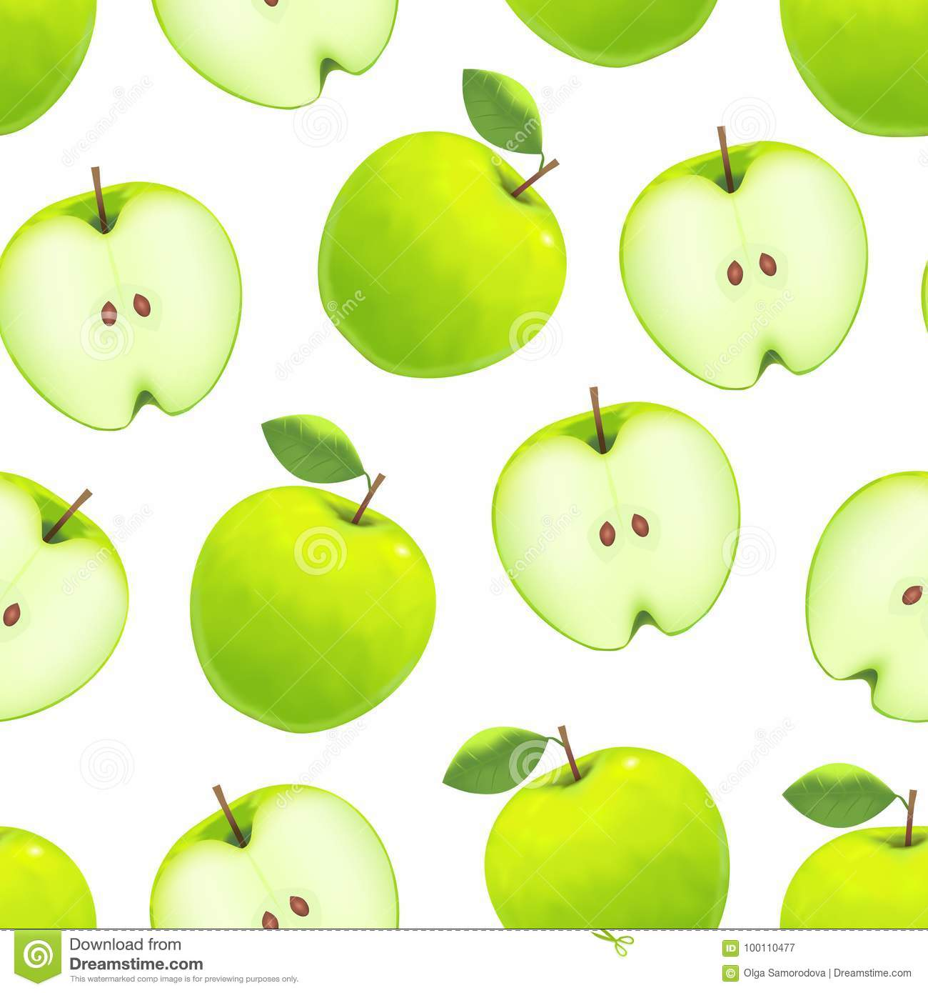 realistic green apple background pattern on a white. vector stock