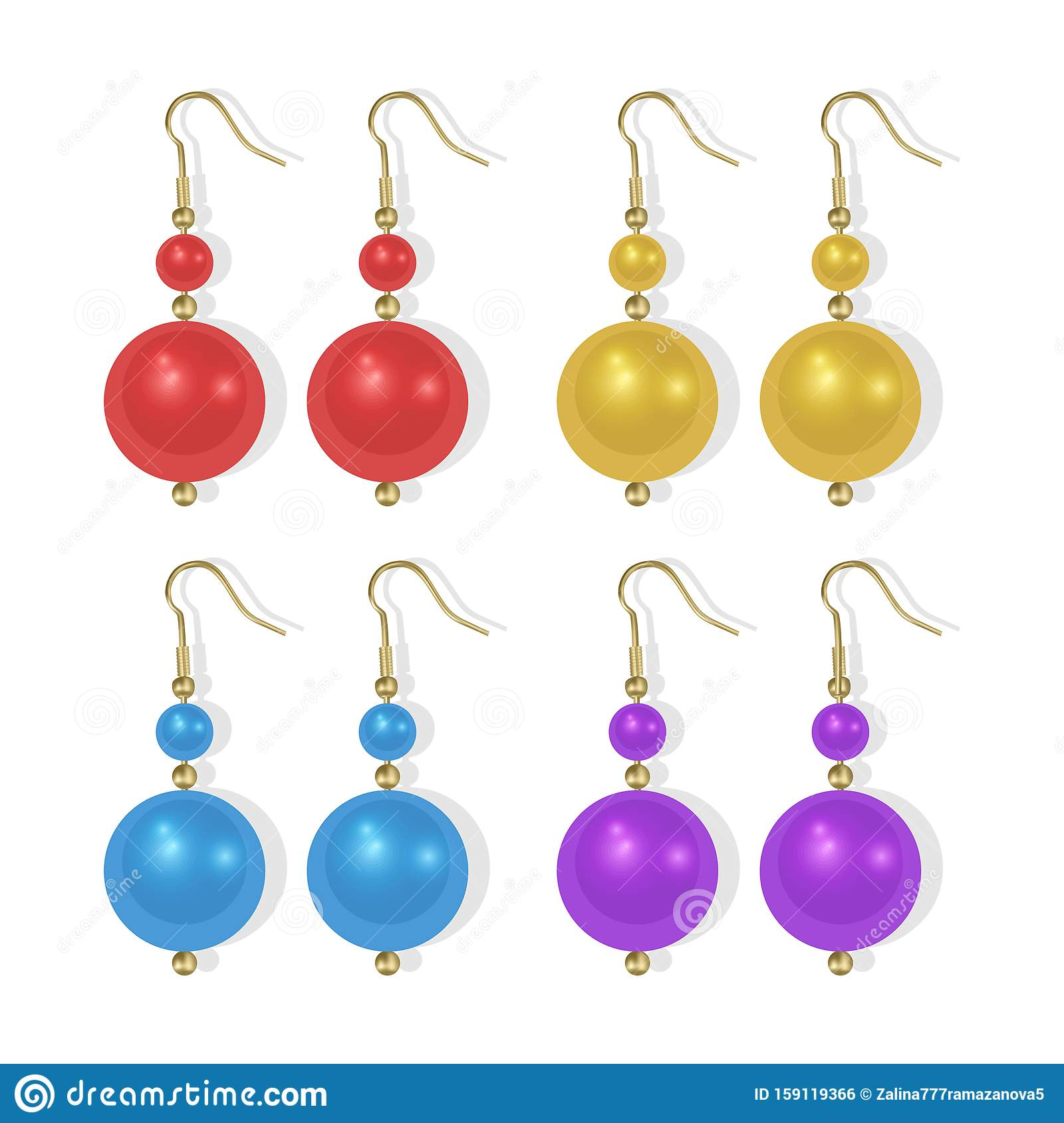 Realistic earrings icons set. Gold jewelry, Pearl earrings of bright colors on white background, Vector EPS 10 illustration