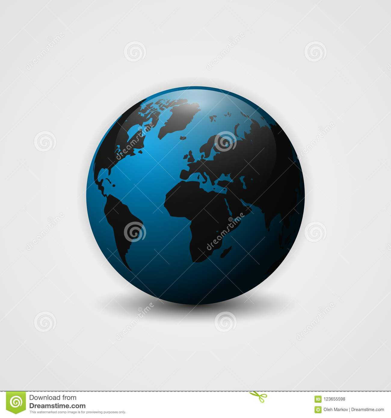 Realistic Earth Vector Illustration 3d Planet Icon World Map