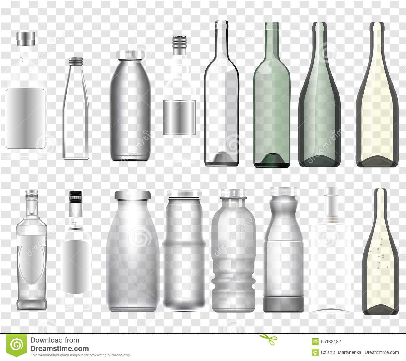 Realistic epmty bottles mockup