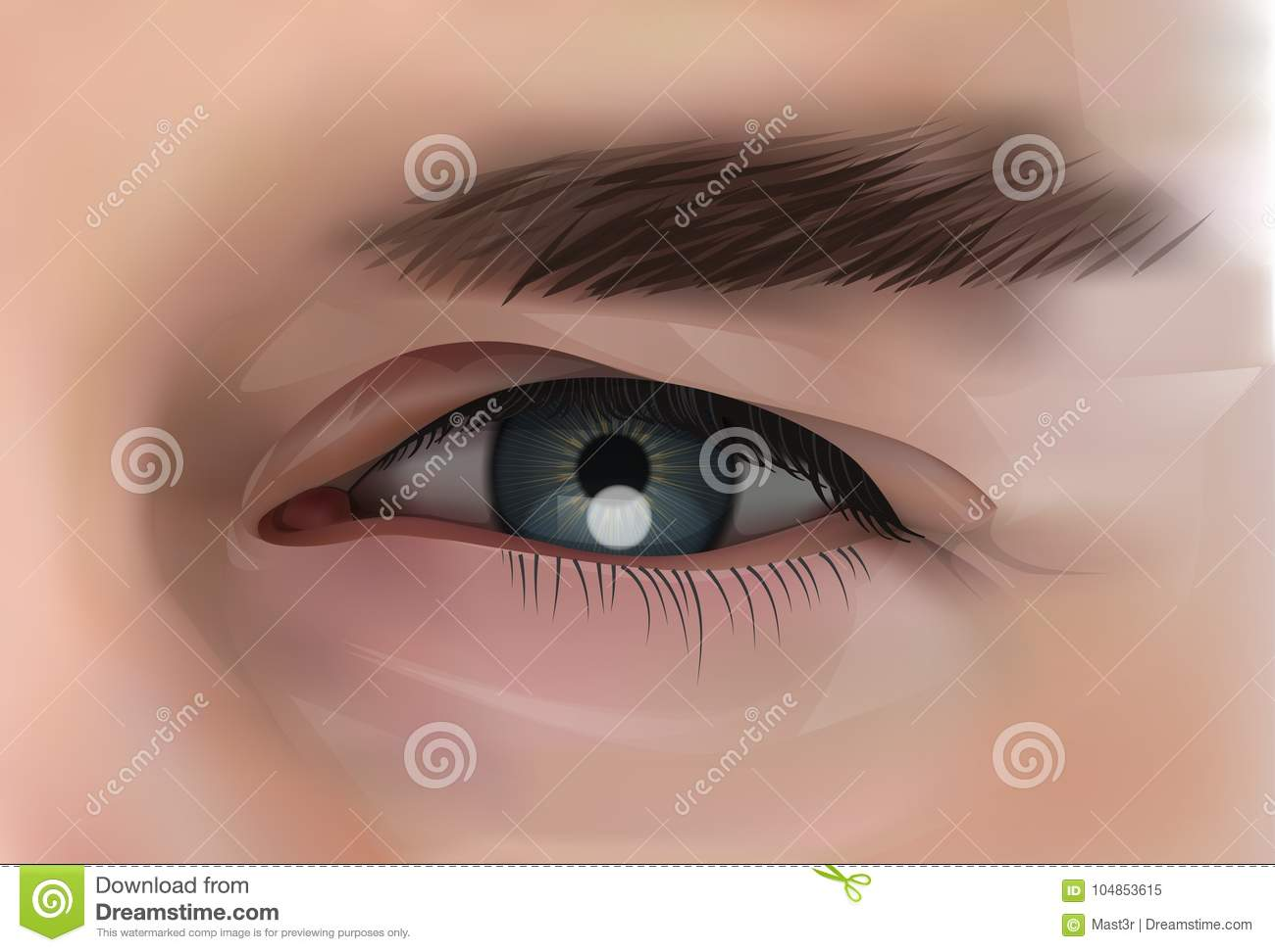 Download Realistic Eye Of Caucasian Male Person Closeup Stock Vector - Illustration of eyelid, glossy: 104853615