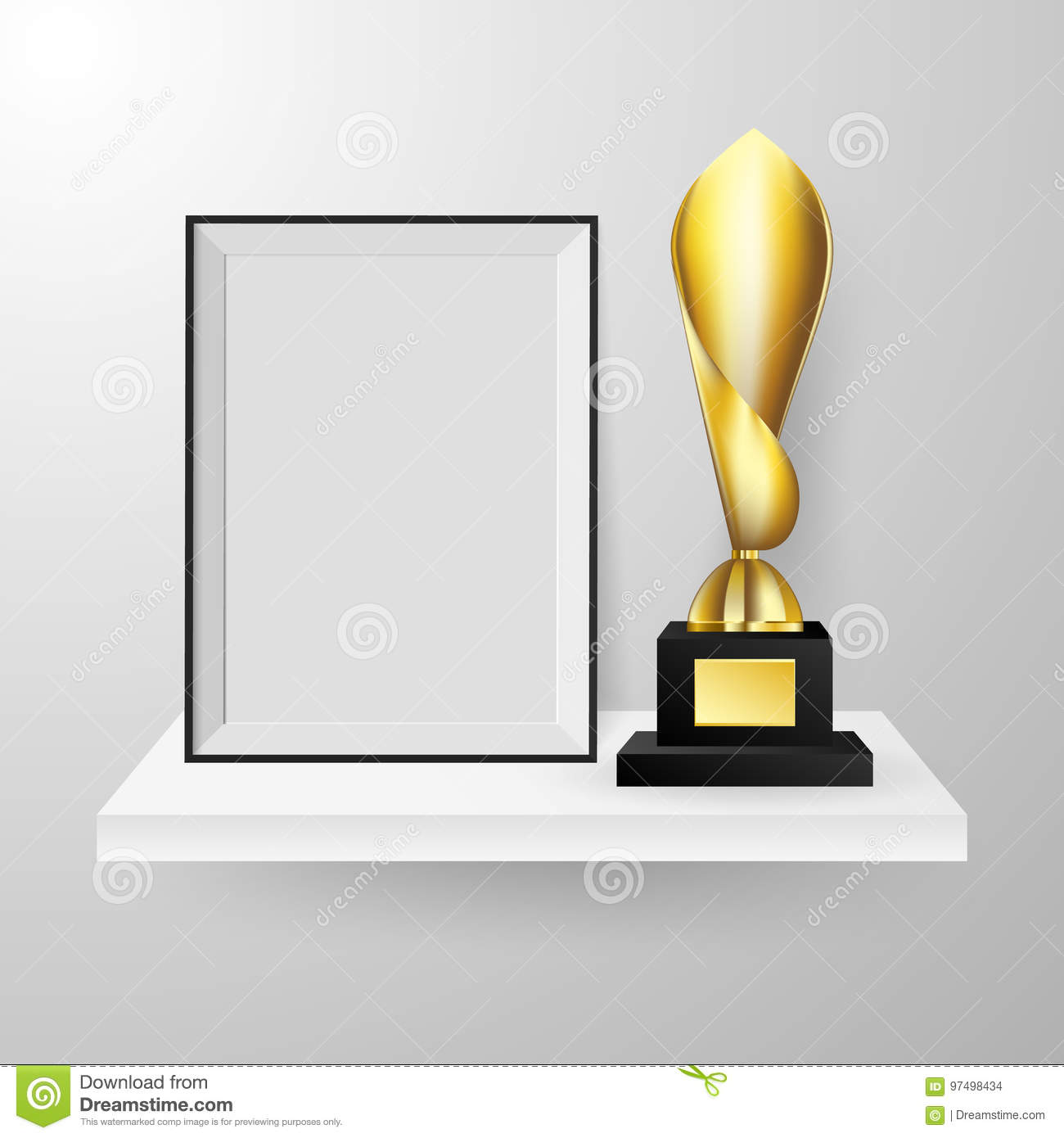 Realistic Faceted Golden Winner Trophy And Photo Frame On Shelf ...