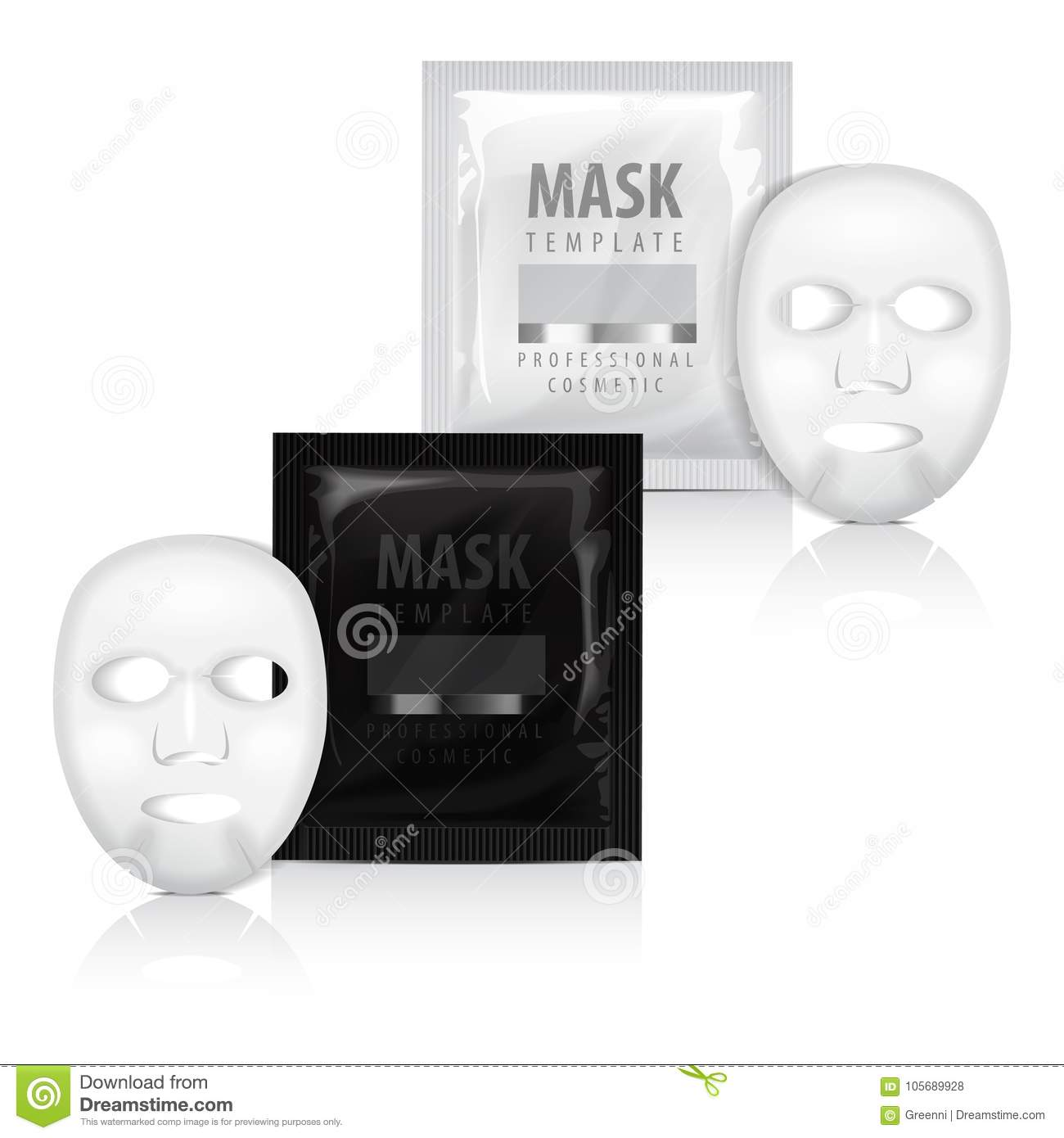 Realistic Facial Sheet Mask And Sachet Vector Mock Up Template