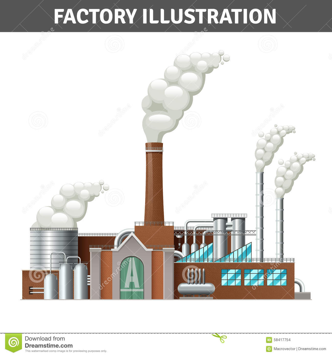 Realistic Factory Illustration Stock Vector - Image: 58417754