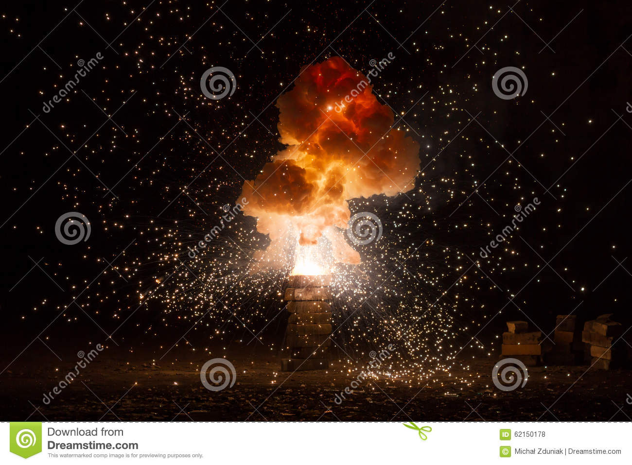 Realistic fiery explosion busting