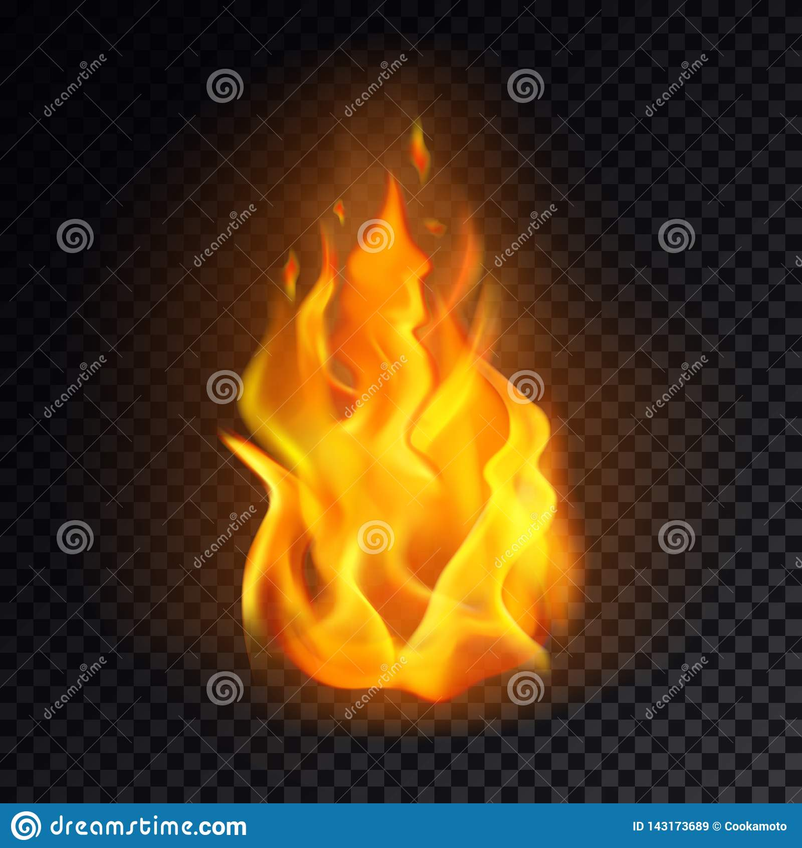 Realistic Fire Or 3d Flame, Orange Burn Emoji Stock Vector