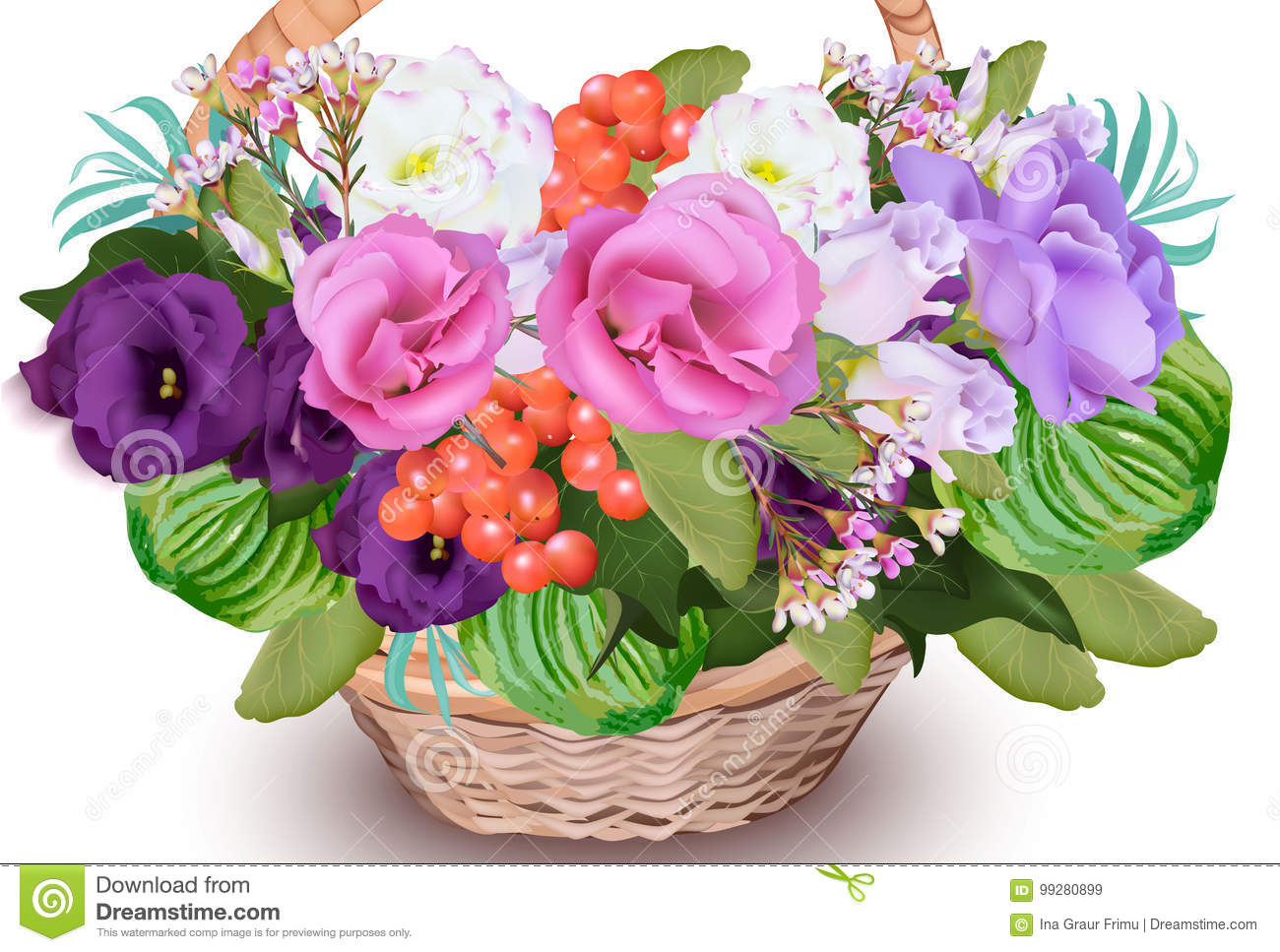 Realistic Floral Bouquet In A Basket Vector Beautiful Decor