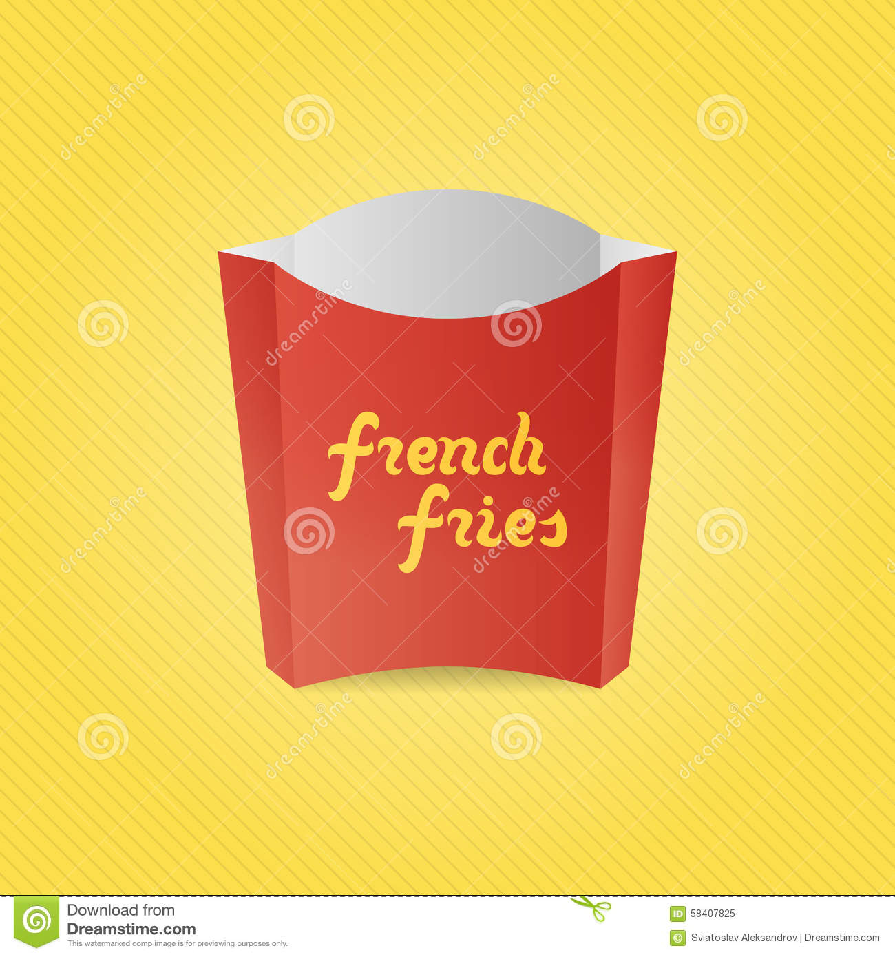 Realistic french fries red paper box cartoon vector for French fries packaging template