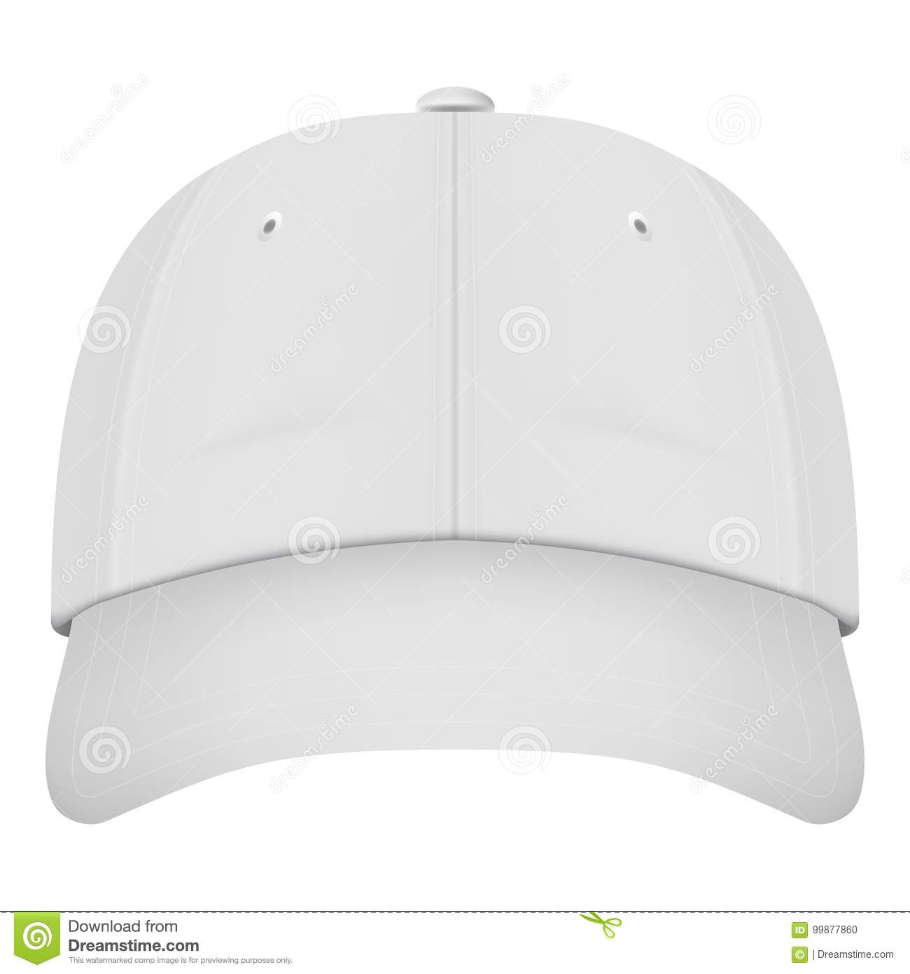 b628ce68 Realistic Front View White Baseball Cap Isolated On A White Background.  Vector Illustration.