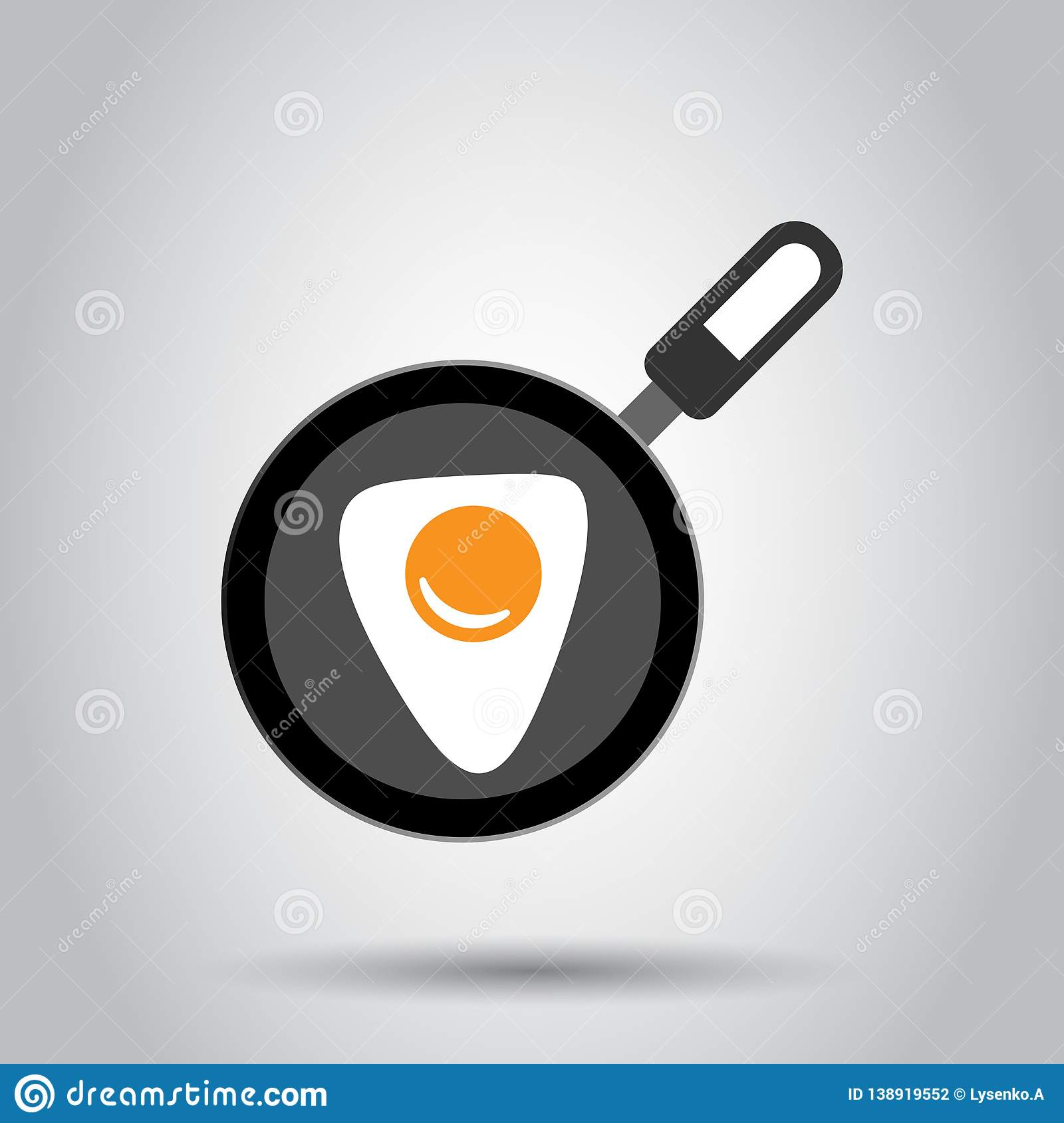 Realistic Frying Pan With Egg Icon In Flat Style  Cooking