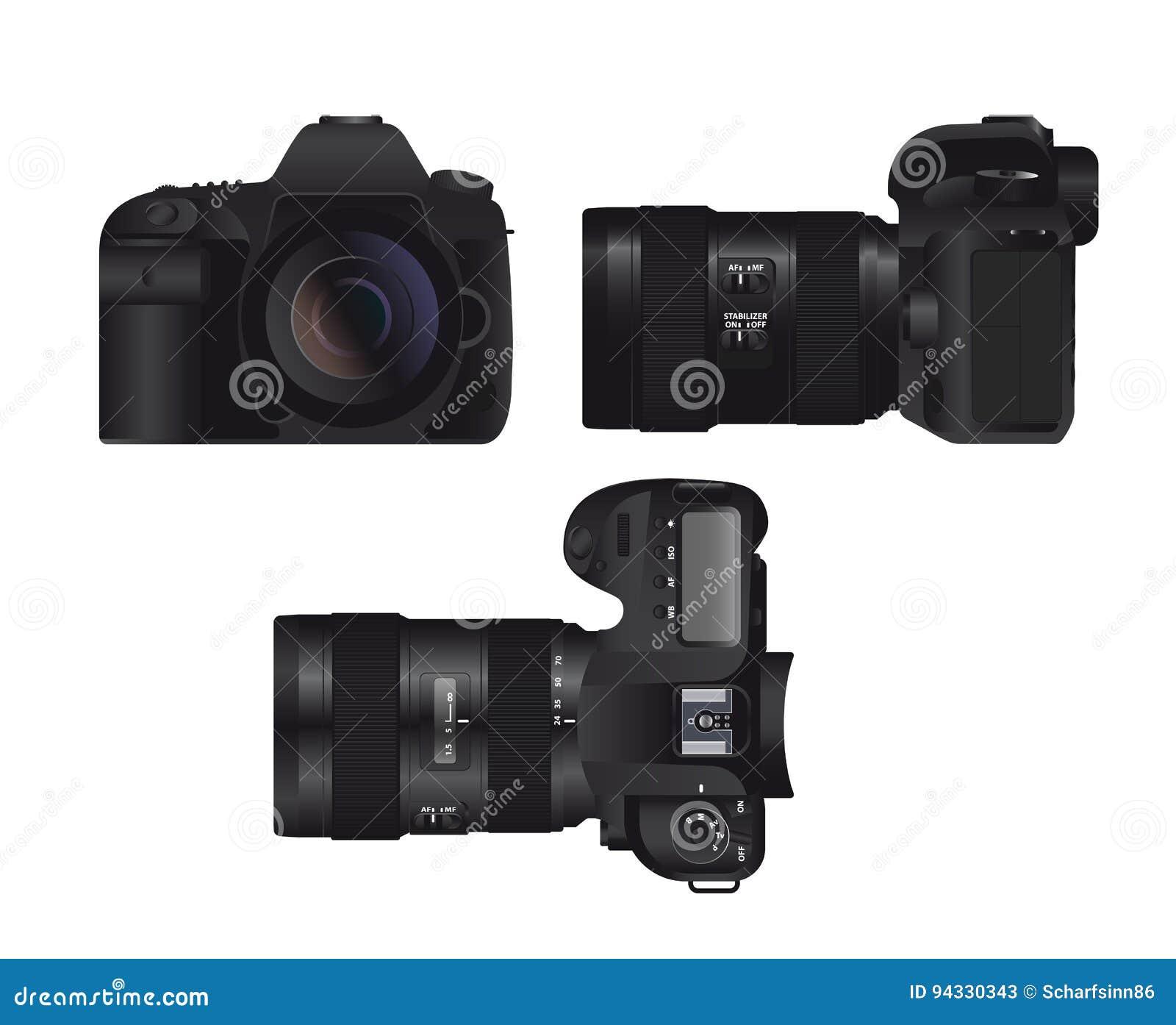 Realistic Full Frame Professional Photo Camera DSLR Stock Vector ...