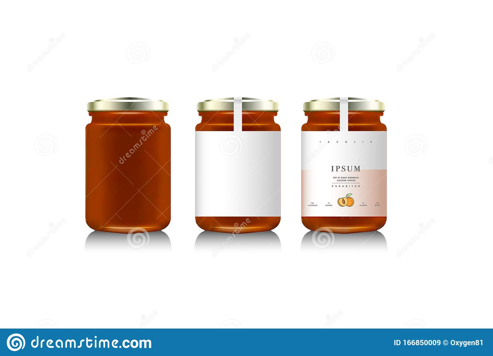 Realistic Glass Bottle Packaging For Fruit Jam Design Apricot Jam With Design Label Typography Line Drawing Apricots I Mock Up Stock Illustration Illustration Of Label Apricots 166850009