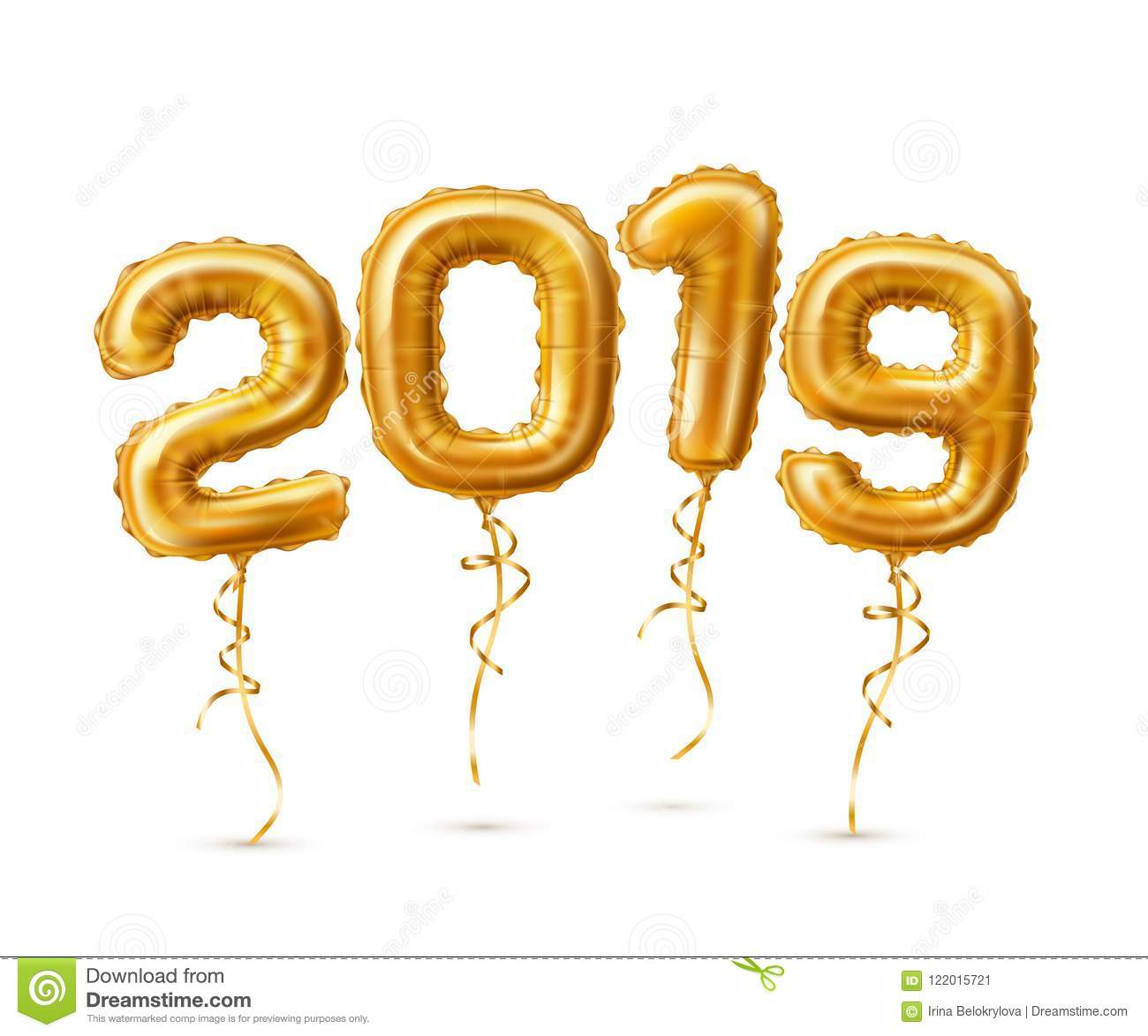 realistic 2019 golden air balloons new year